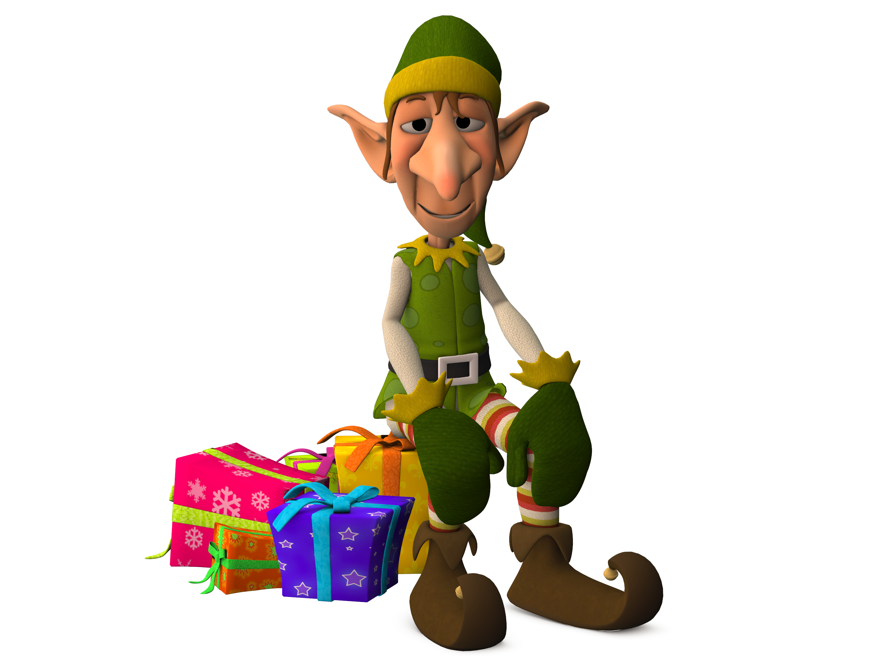 Christmas Elf Sitting on Presents image - Free stock photo - Public ...
