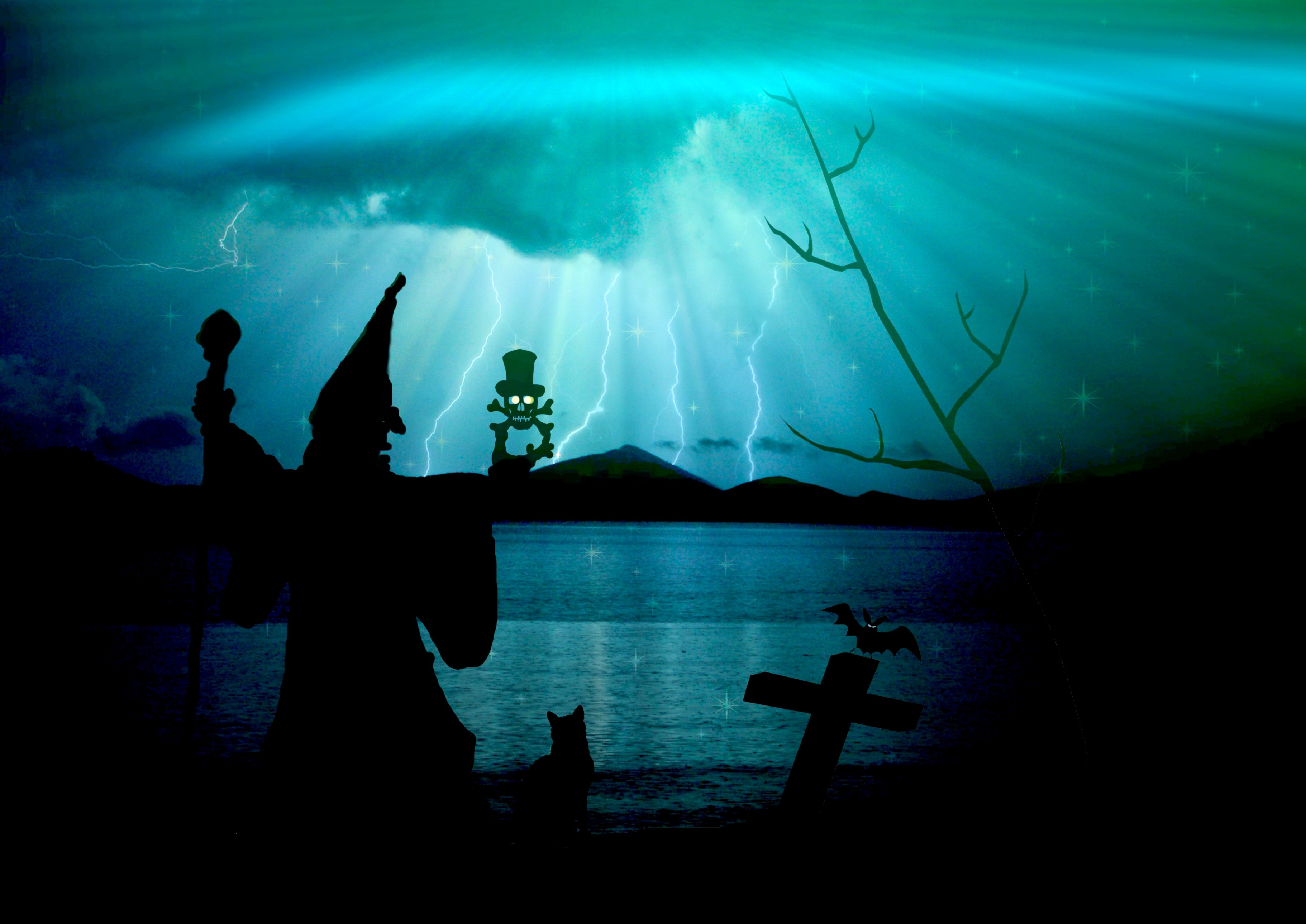 Creepy Witch In Fantasy Blue Landscape With Lightning Image