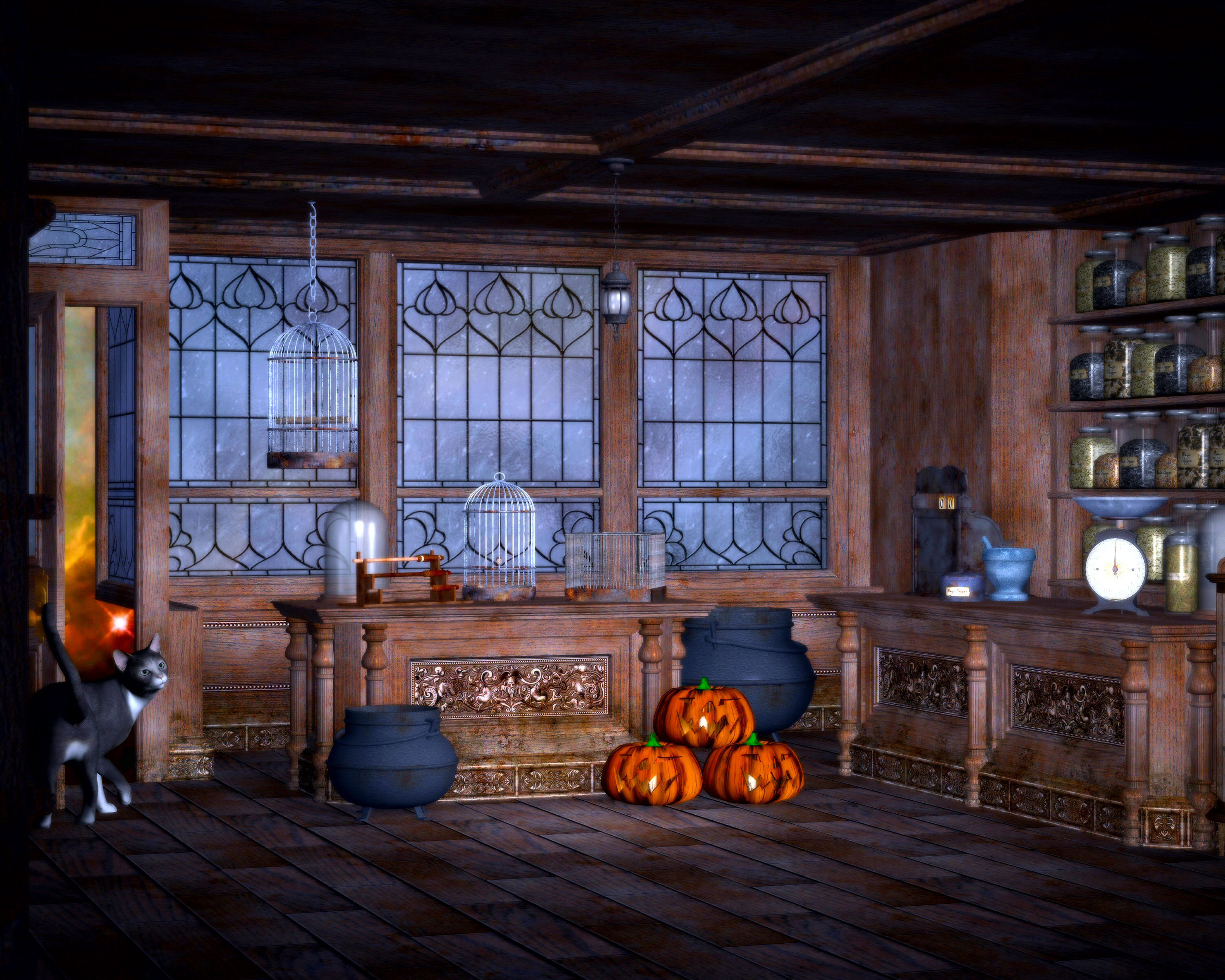 Wizards Room 3d Models With Pumpkins And Other Stuff Image