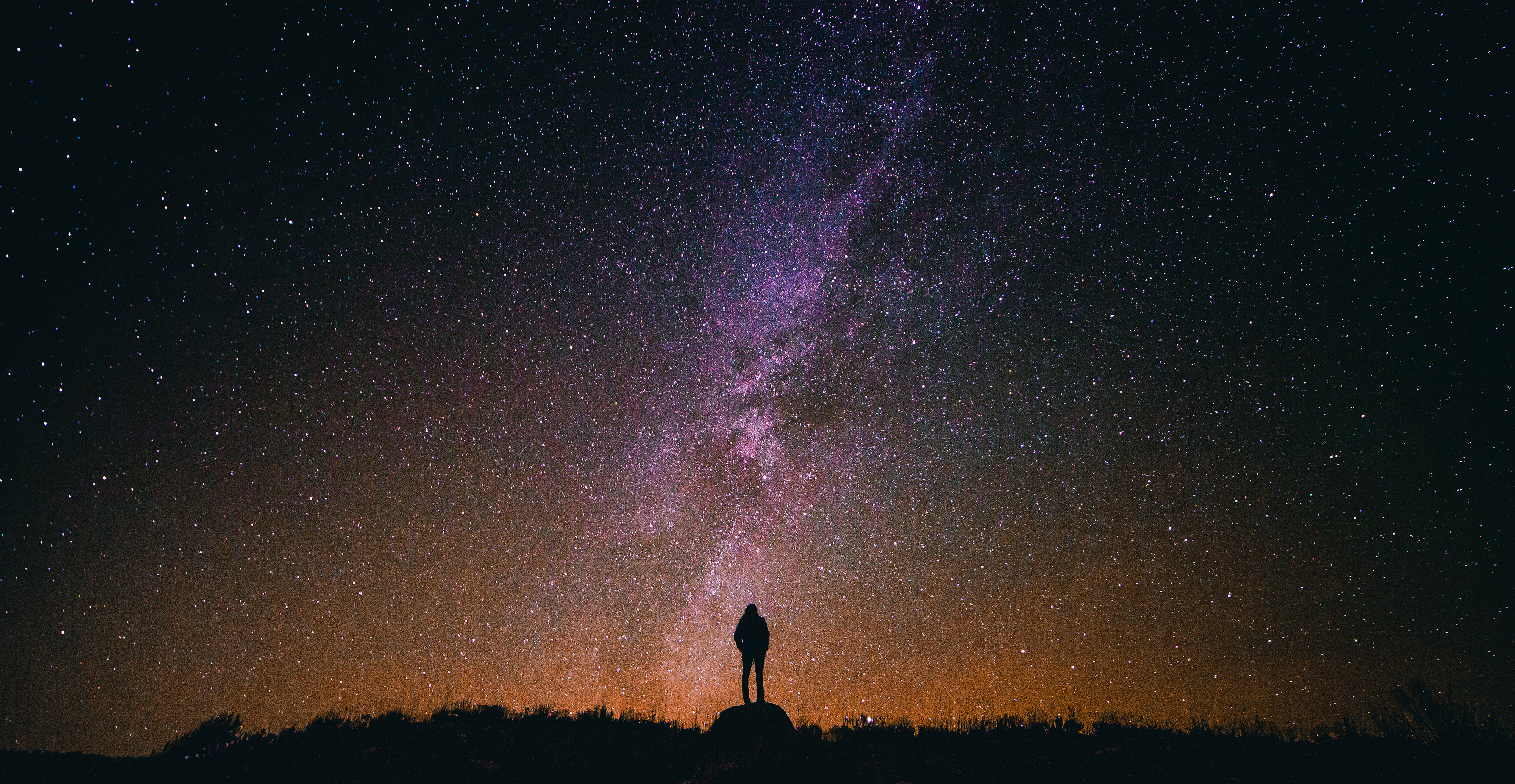 Free Stock Photo of Person standing under the Milky Way