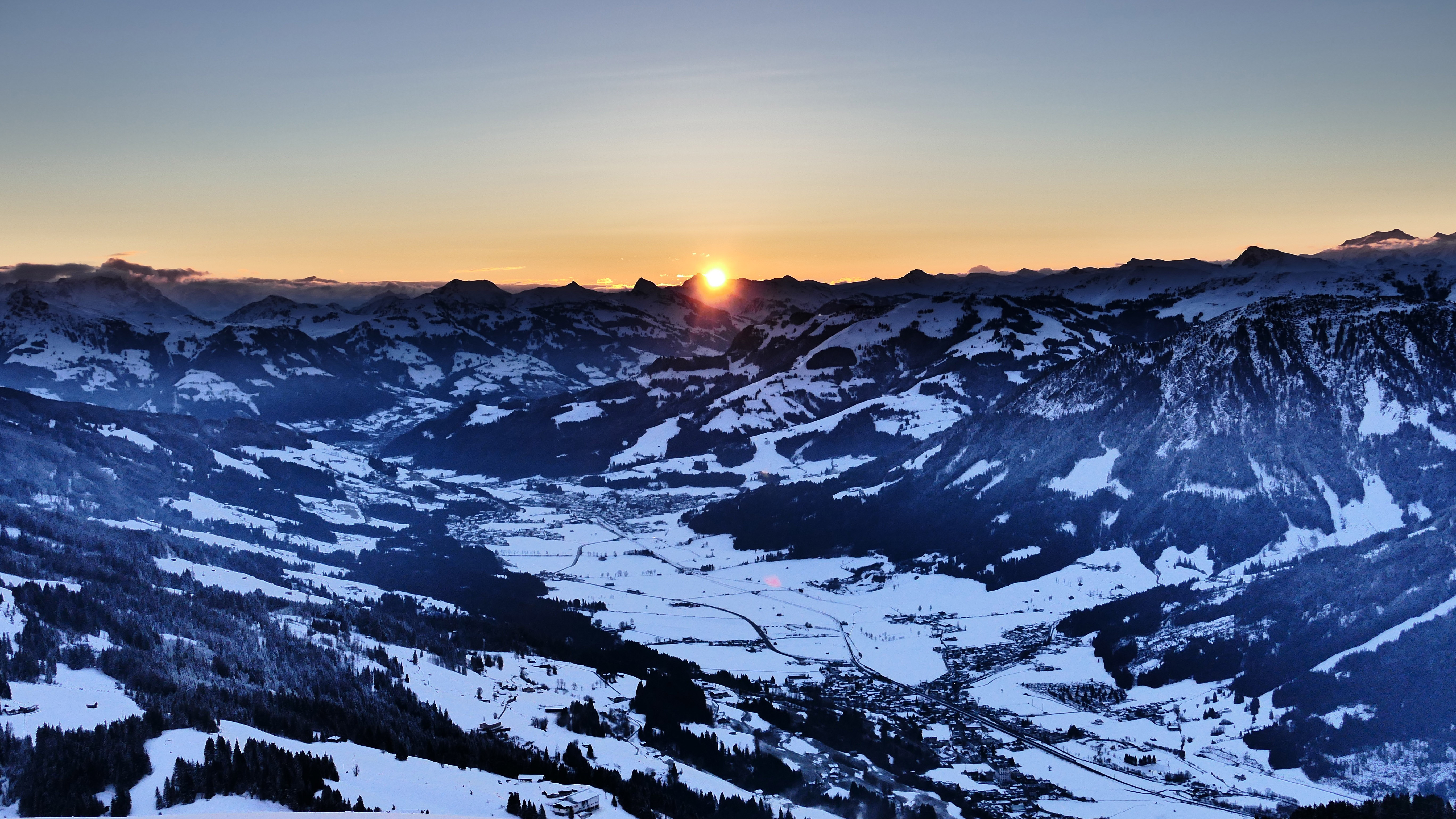 Sunrise over the snowy Alps landscape image - Free stock ...