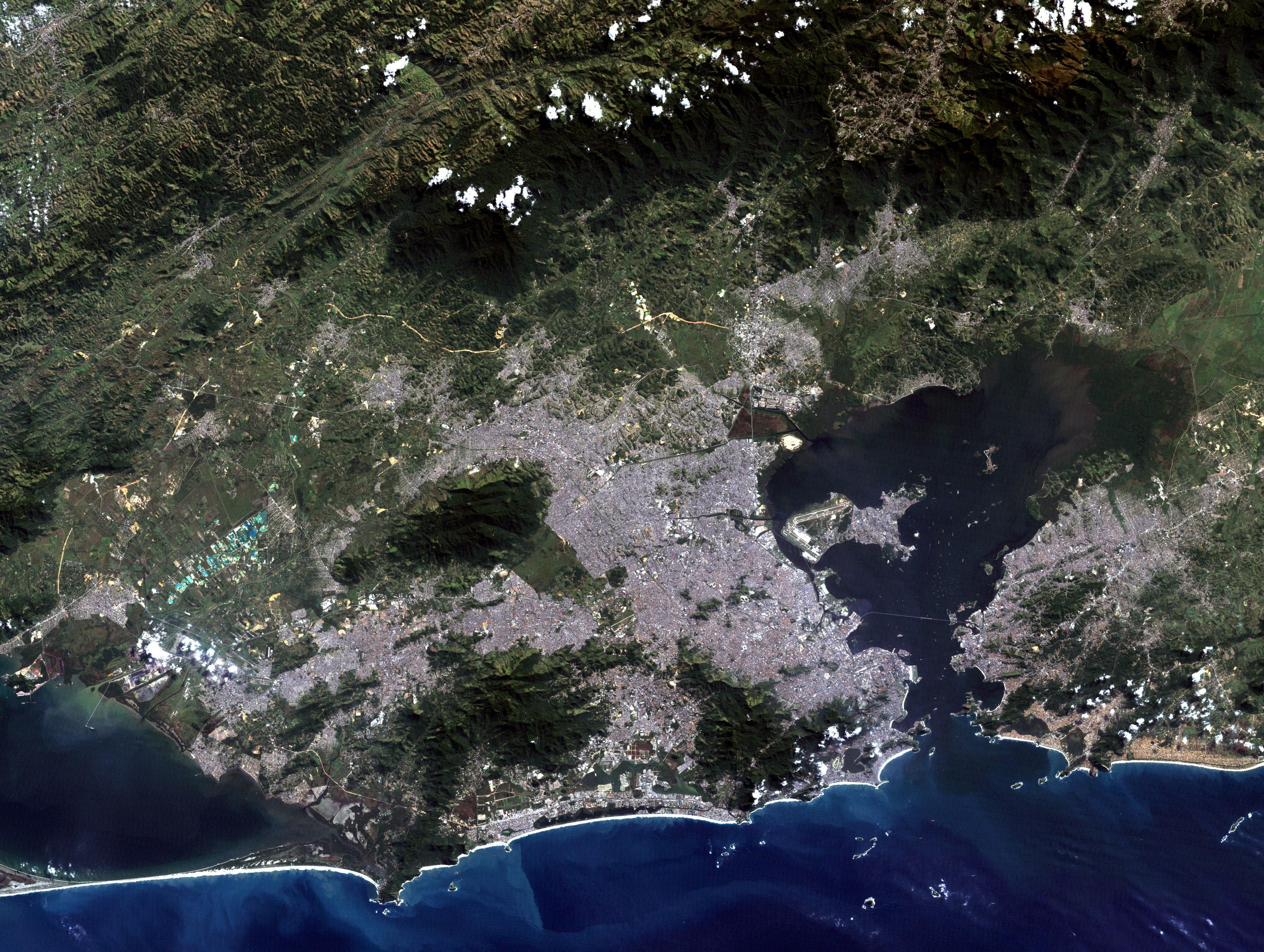 satellite image of rio de janeiro in brazil image free stock photo