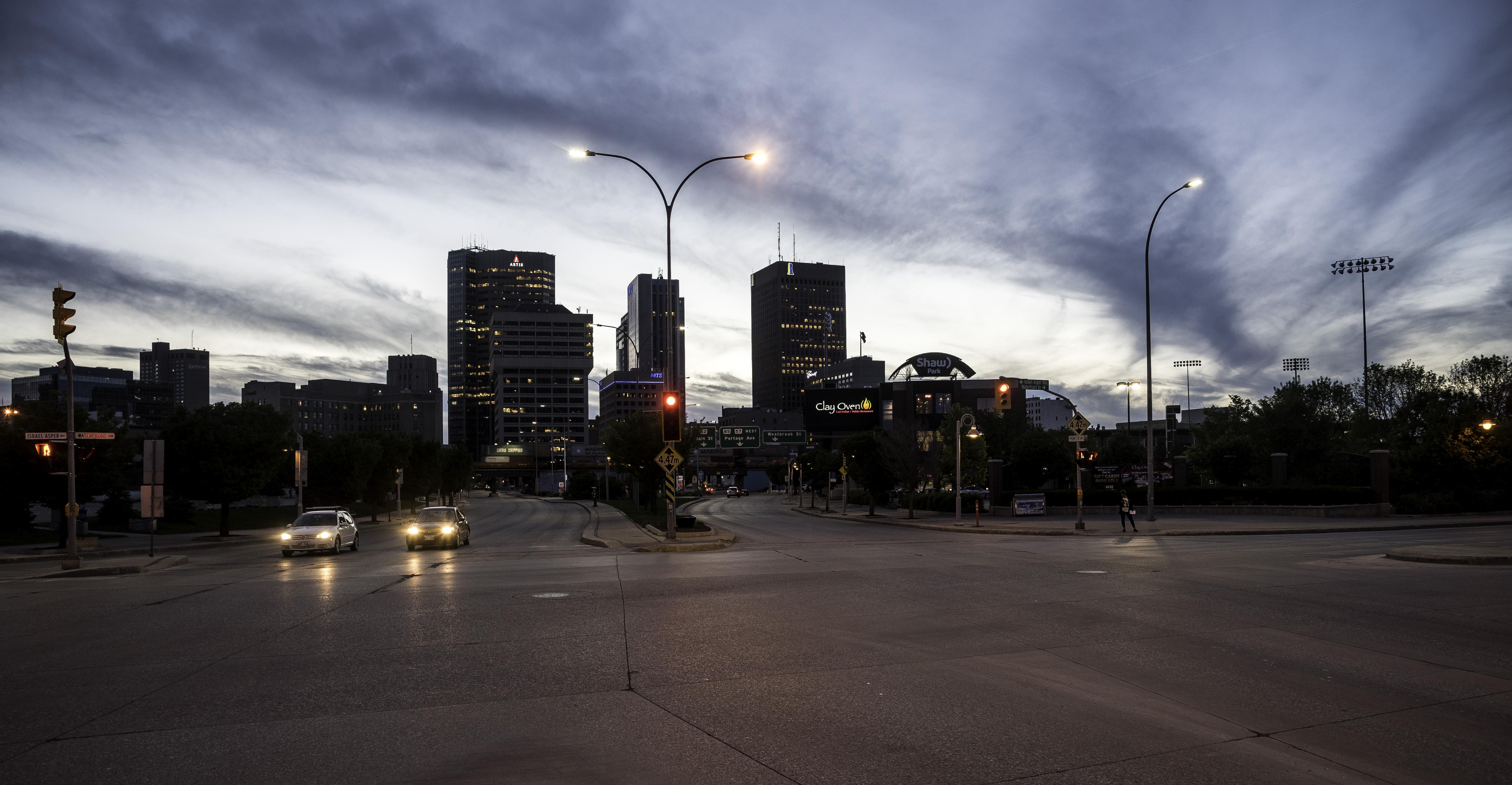 Skyline Of Winnipeg At Night Image Free Stock Photo