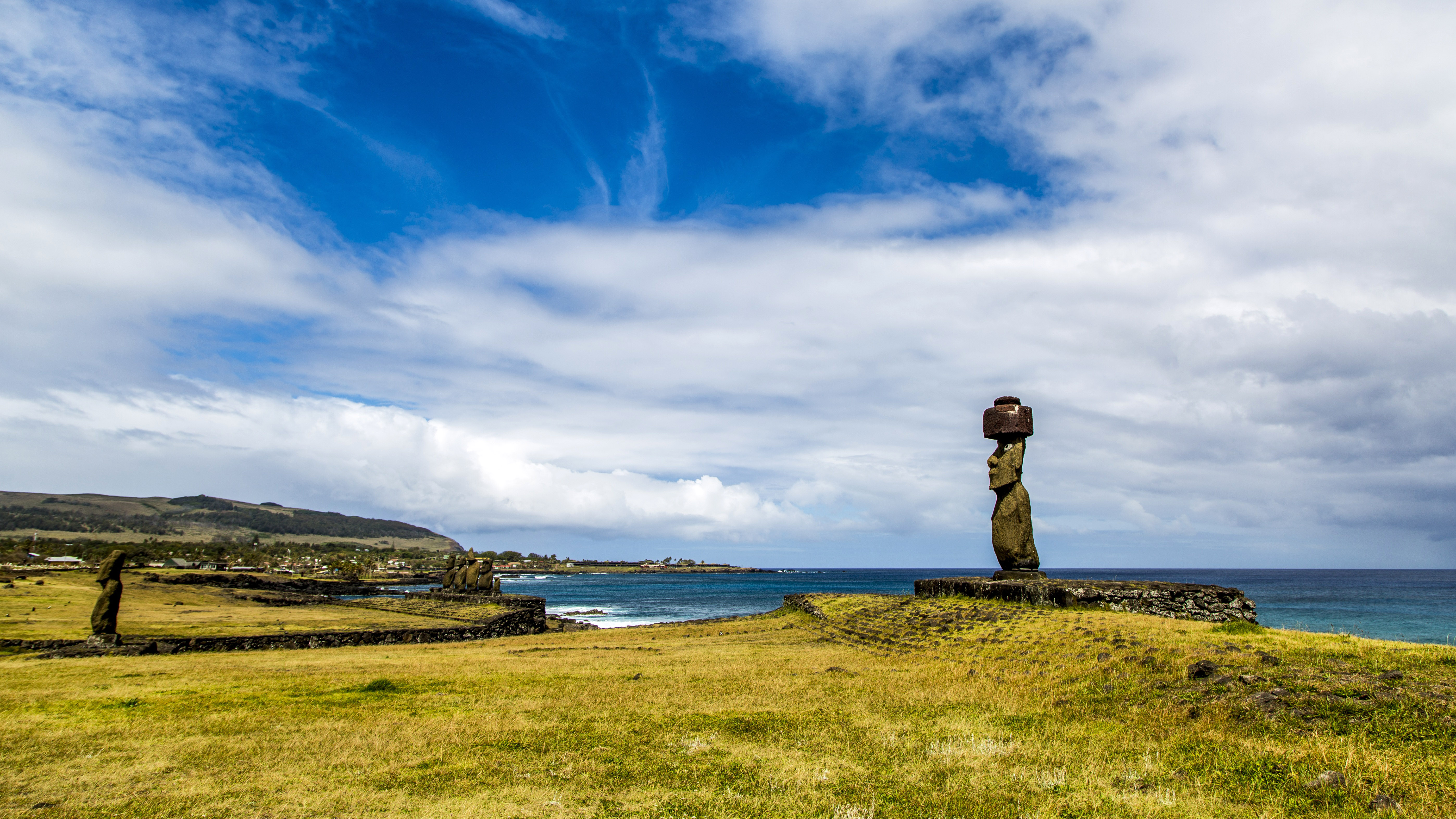 landscape of easter island with sky and statue in chile image free