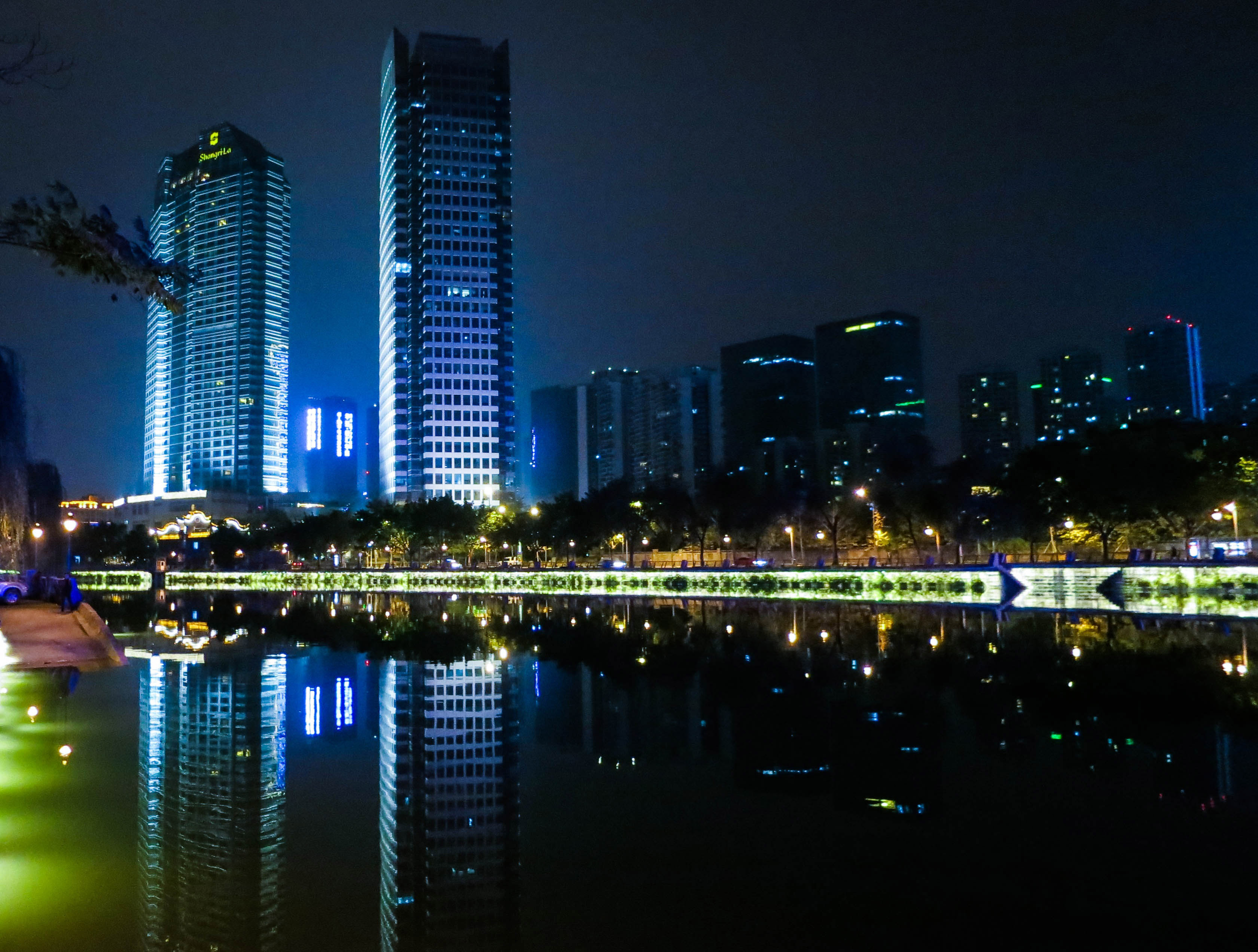 Night Time Buildings And Towers In Chengdu Sichuan China