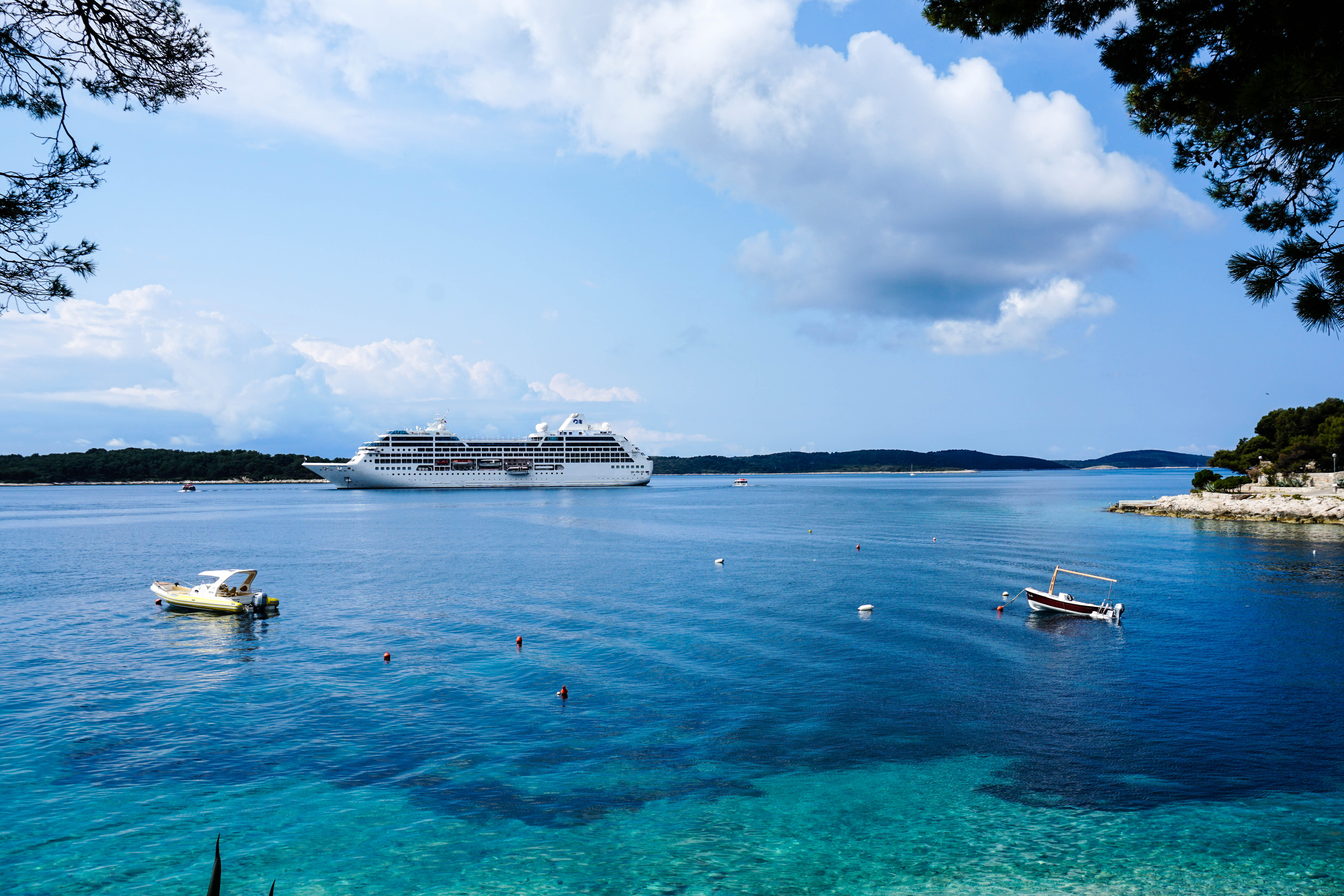 Cruise Ship On The Ocean In The Seascape In Croatia Image