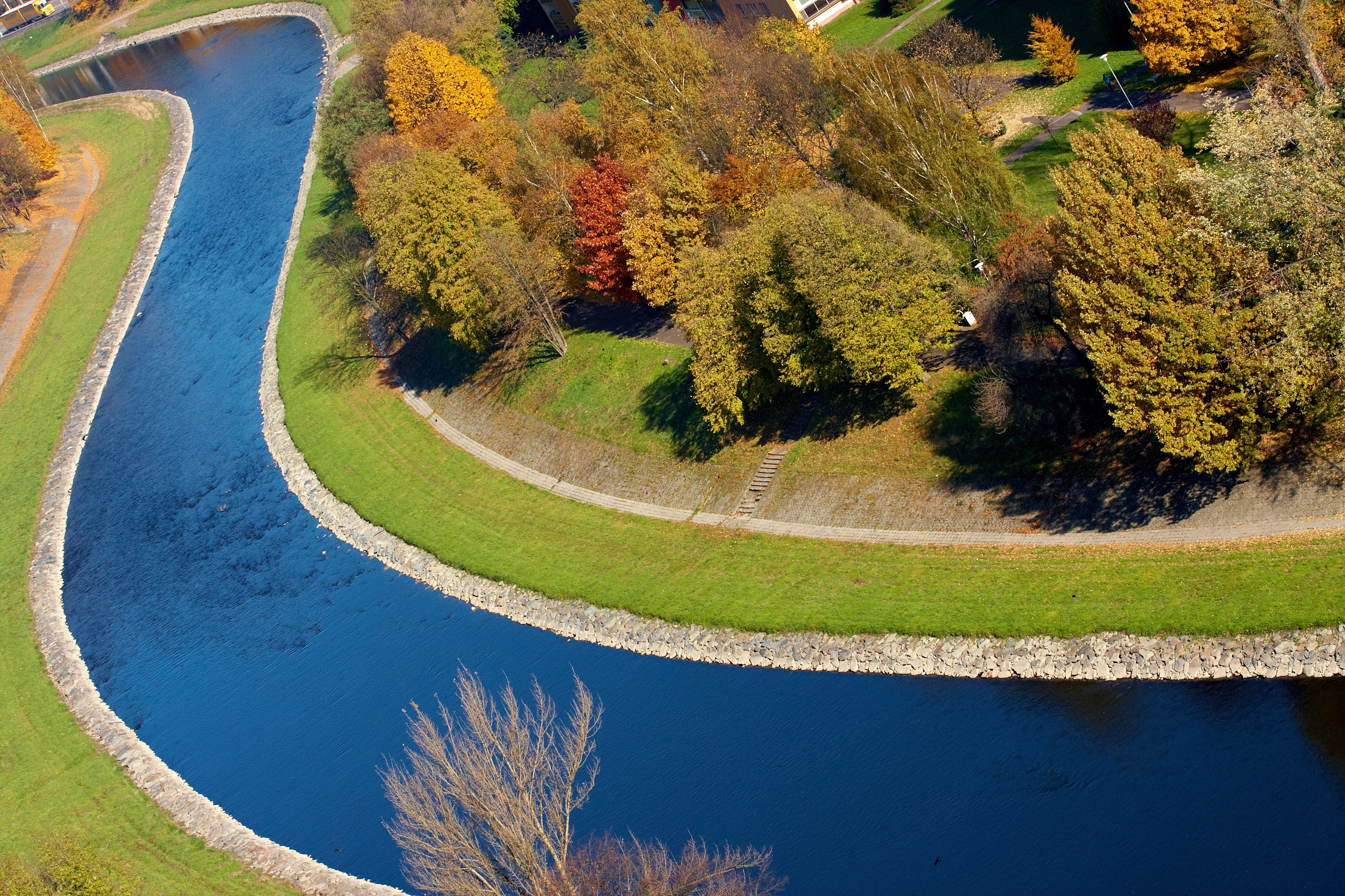 Free Stock Photo Of The Ostravice River Overhead View In Ostrava - Czech river