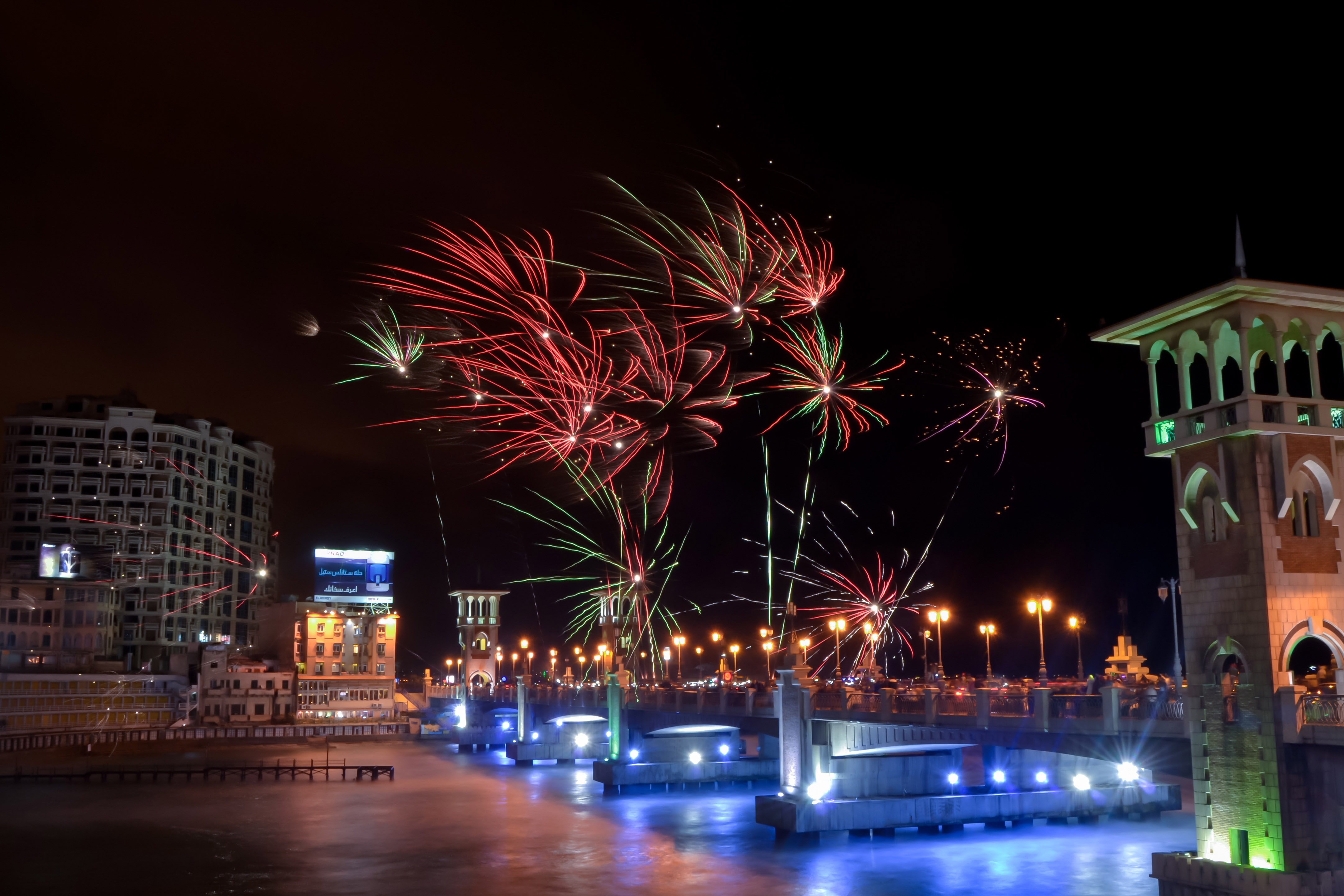 fireworks over the night sky in alexandria egypt image