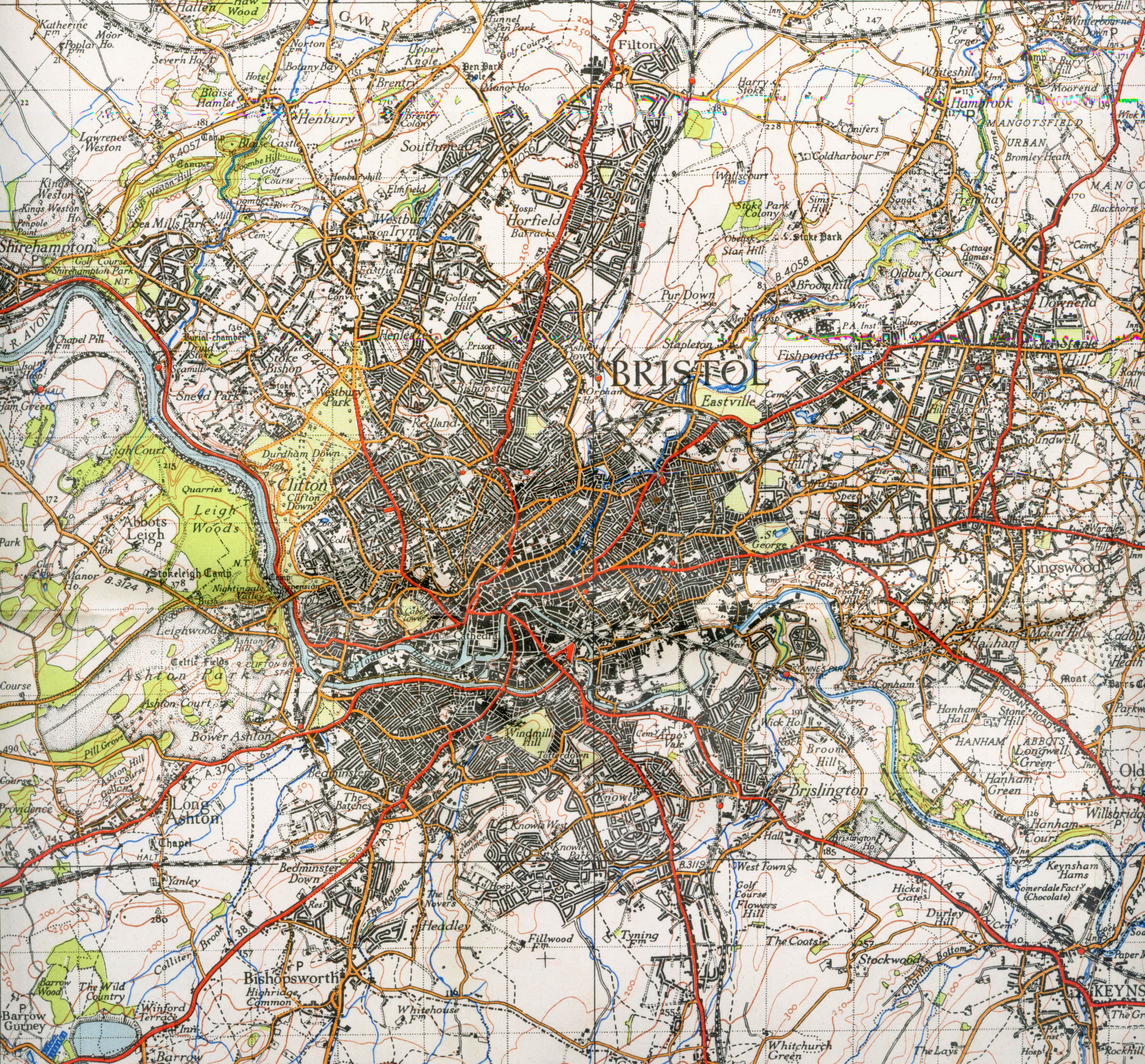 Bristol On The Map Of England.A 1946 Map Of Bristol In England Image Free Stock Photo Public