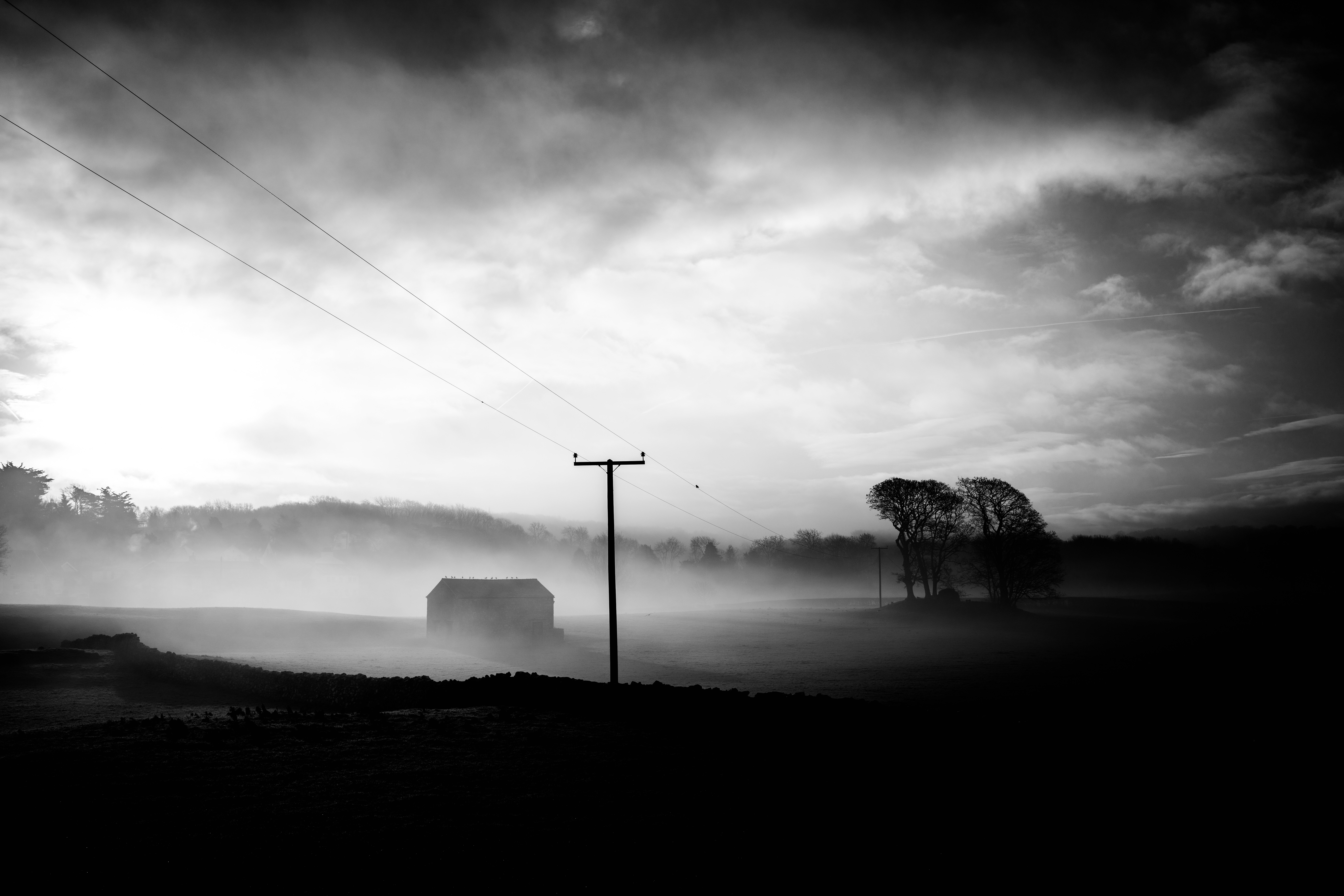 Black and White with Fog landscape image - Free stock