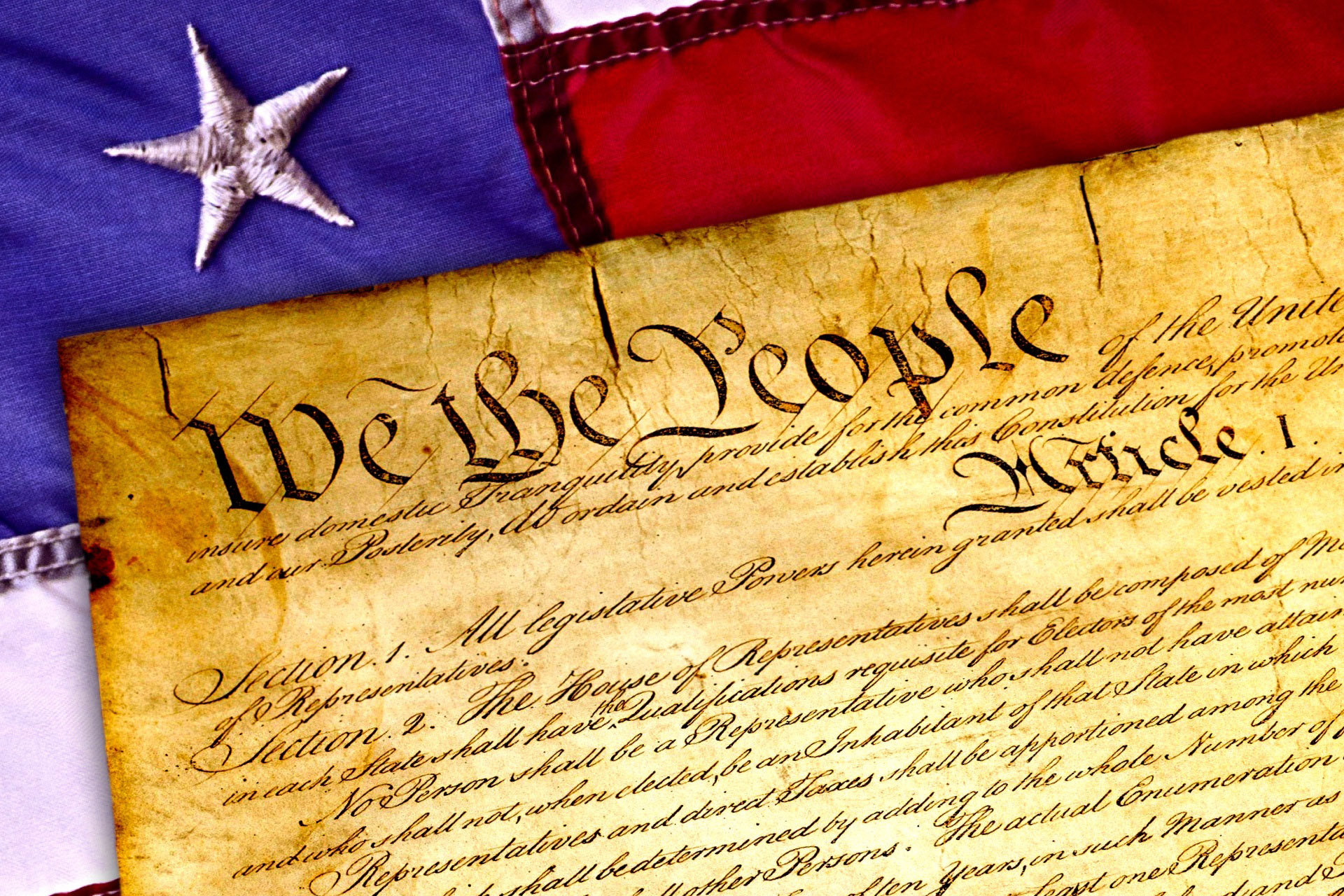 American Constitution and Flag image - Free stock photo ...