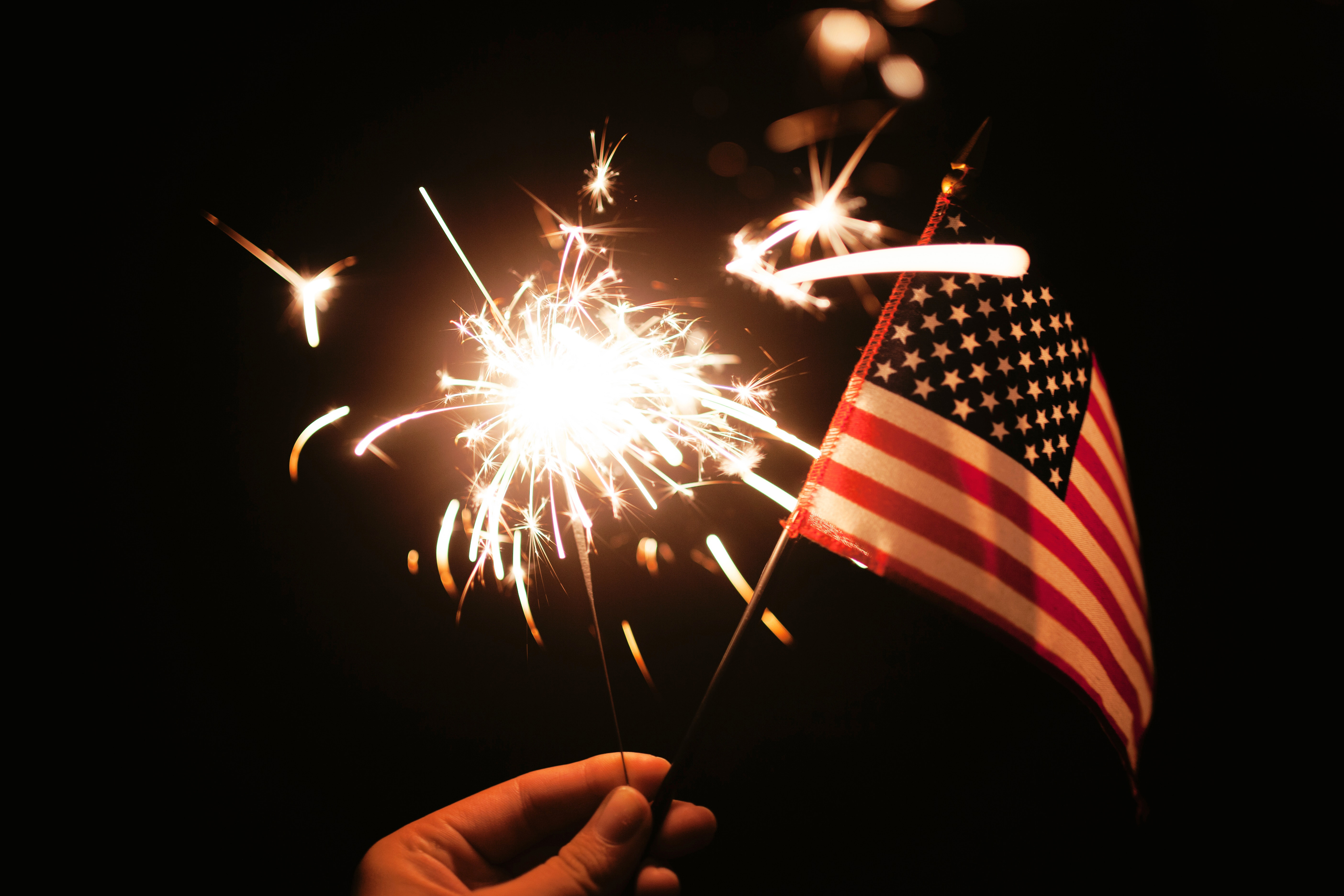 Fireworks And American Flag On 4th Of July Image Free Stock Photo
