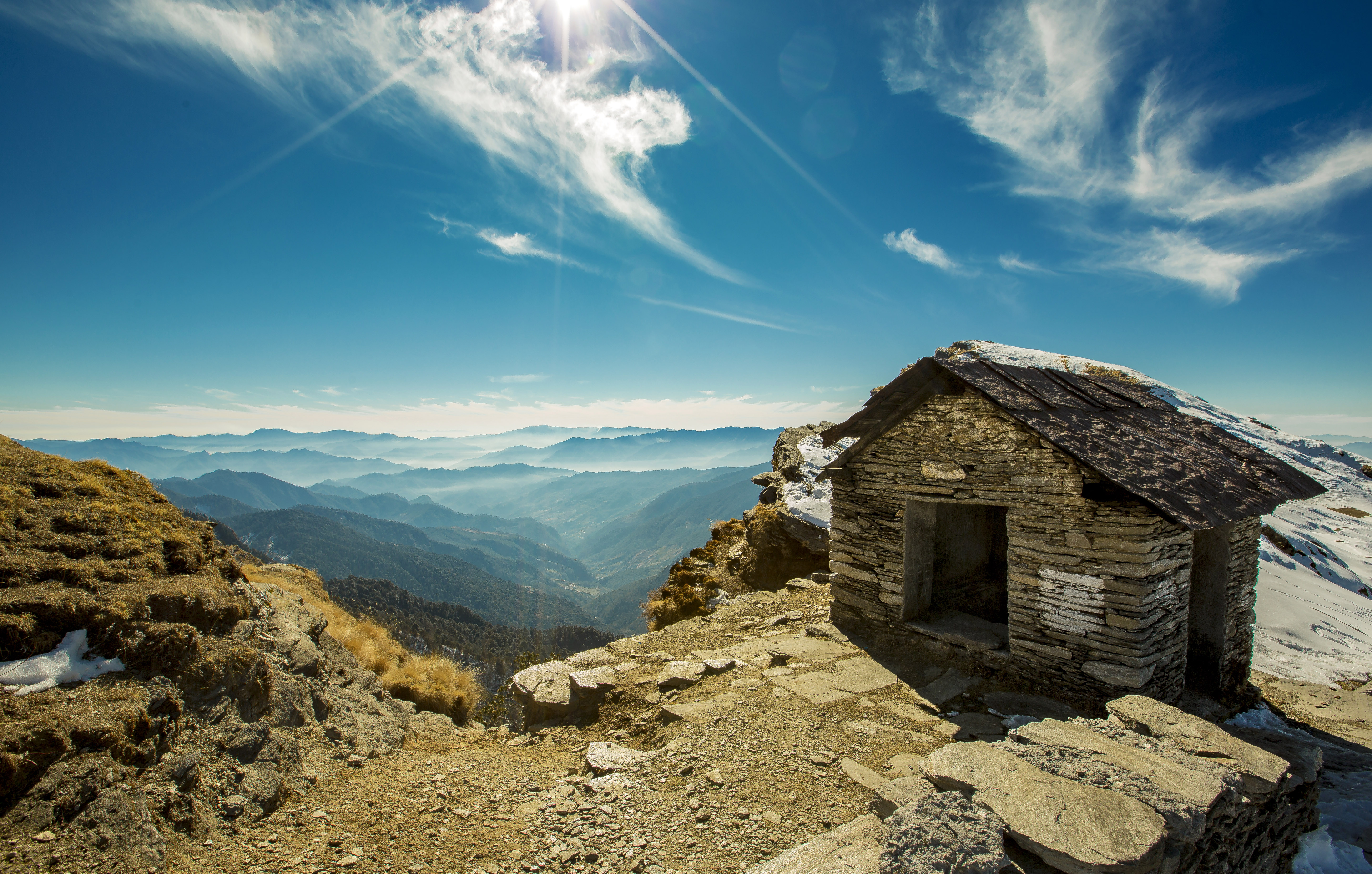 House in the mountains with sky and majestic scenery in - House in the mountains ...