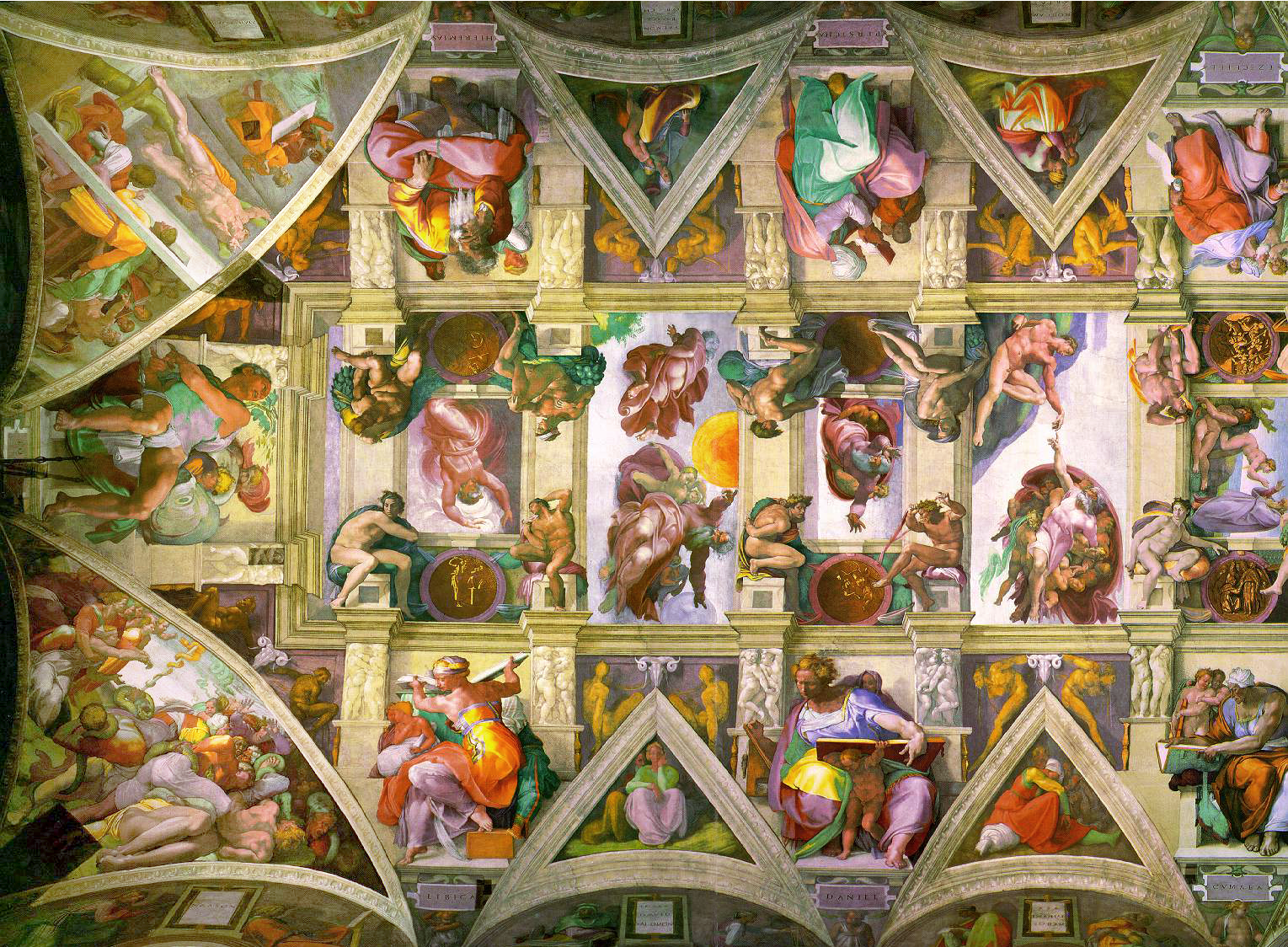 Michelangelo S Artwork On The Ceiling Of Sistine Chapel Image Free
