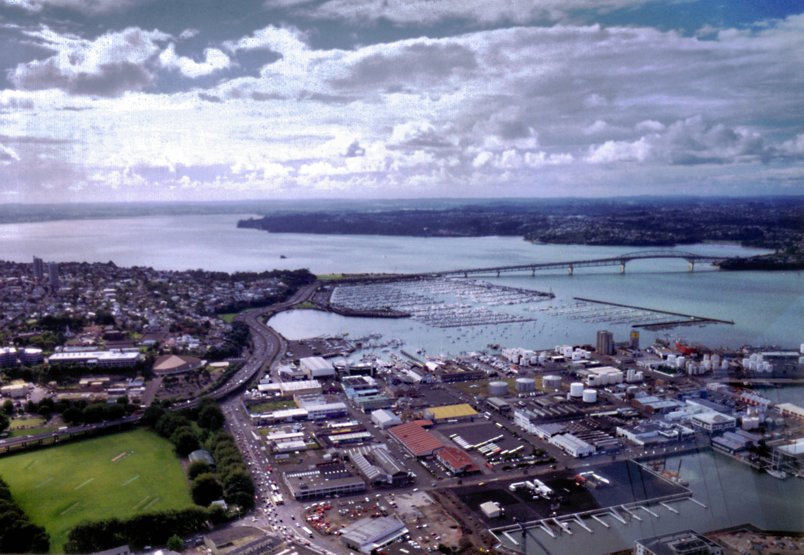Auckland harbour landscape in new zealand with clouds and for Landscaping auckland