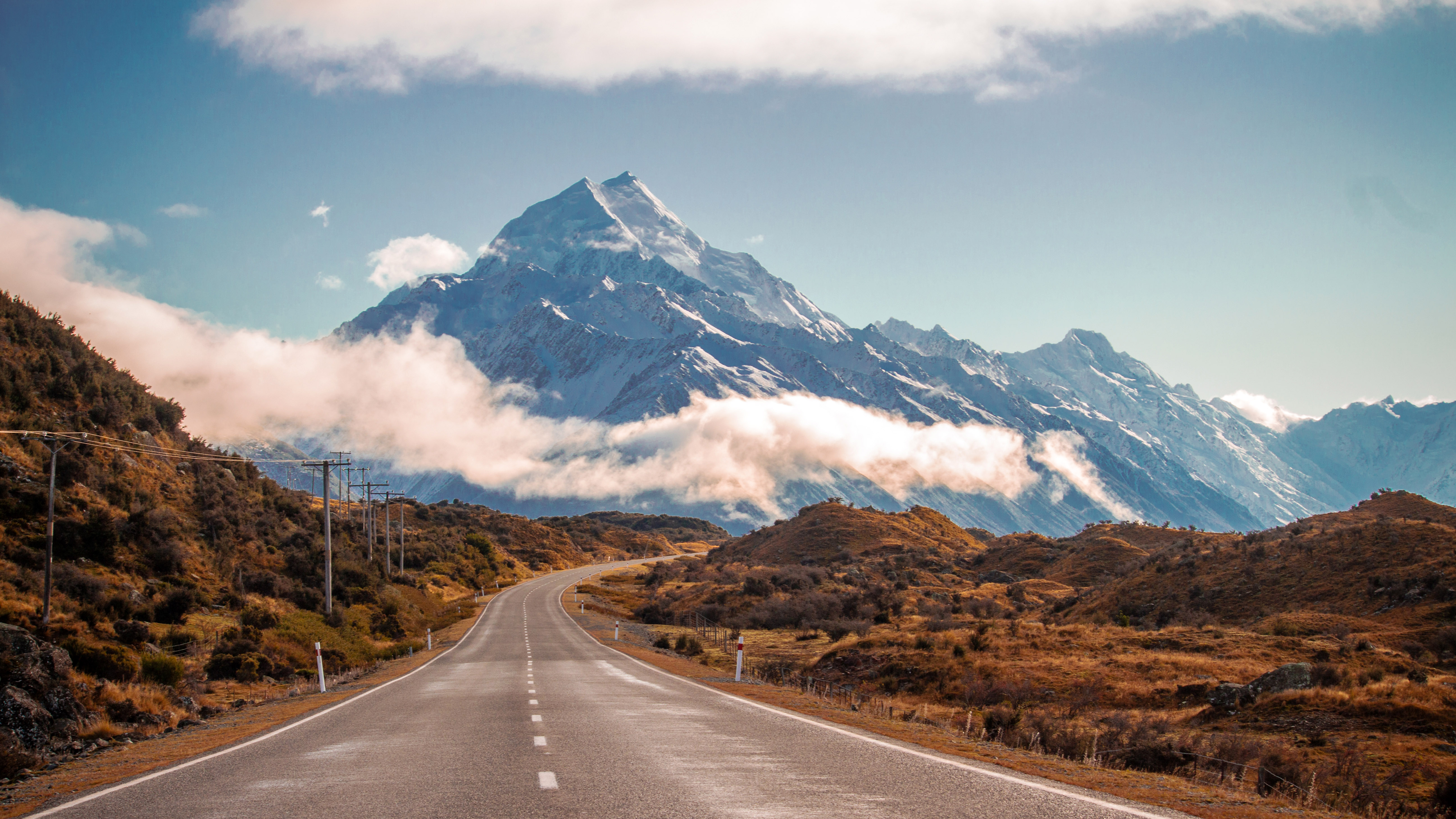 mountains landscape and road in new zealand image free