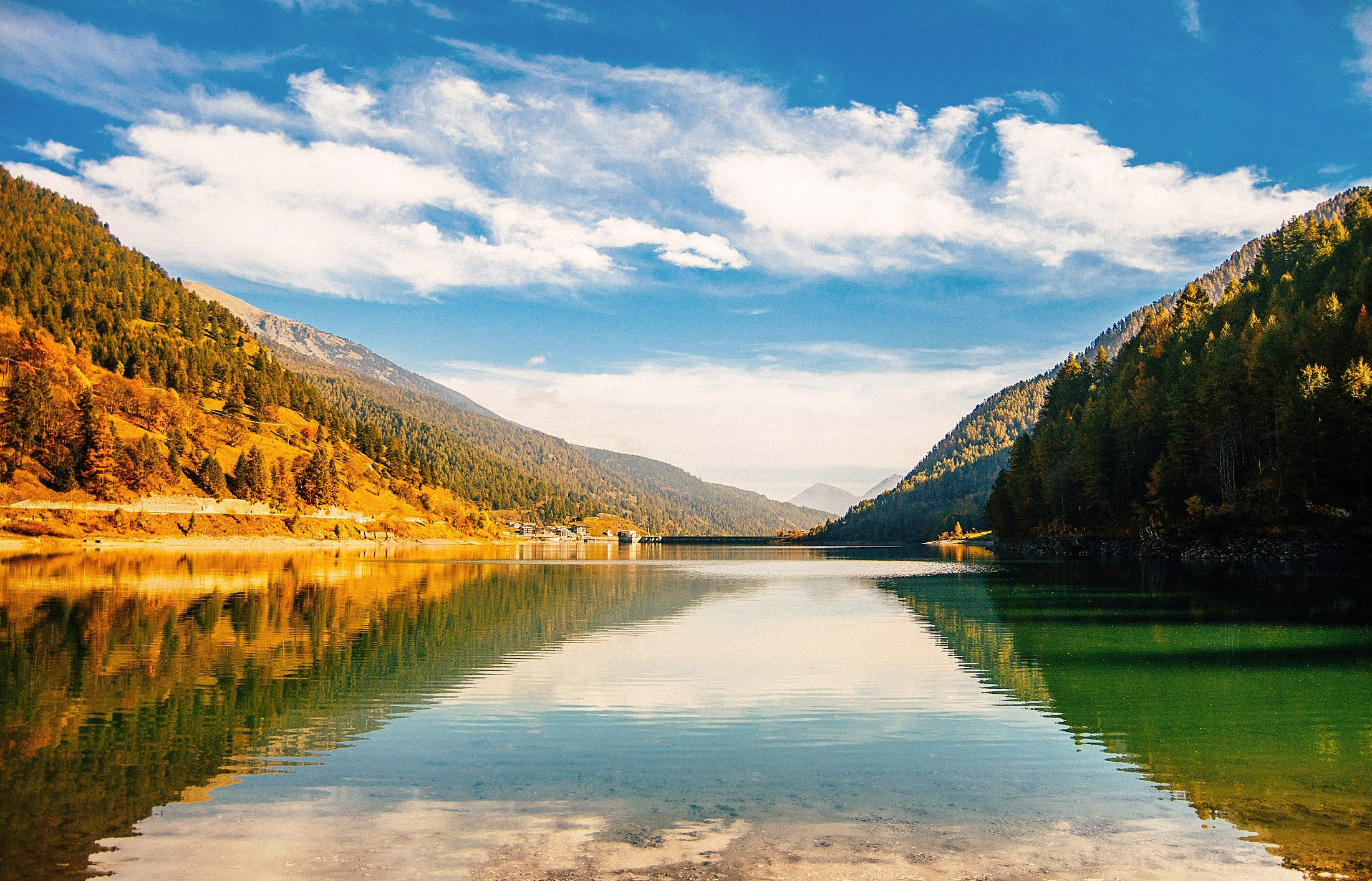 Serene landscape of the mountains and lake with sky image for Landscape photos