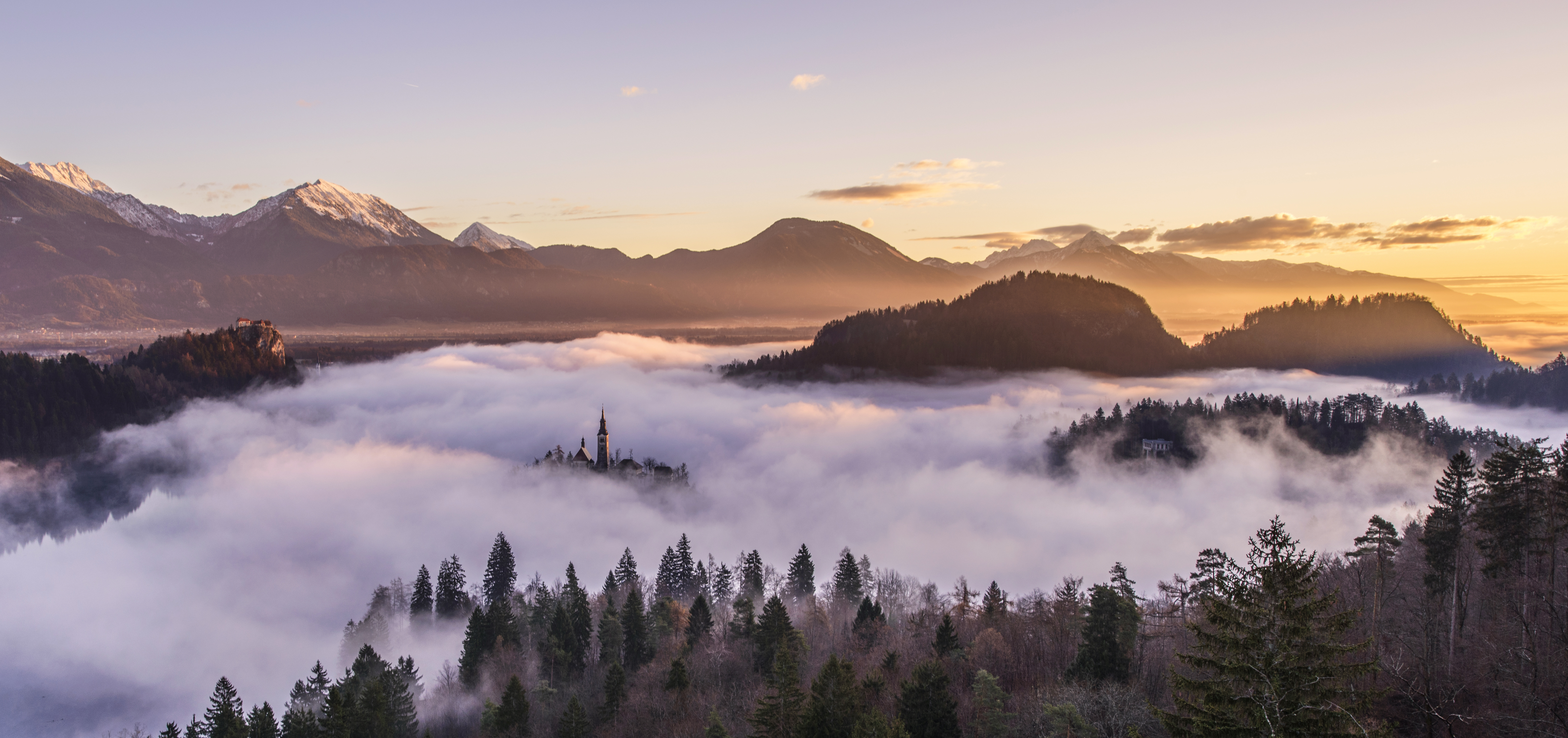 Cloudy Mountains With Mist Landscape Image Free Stock Photo