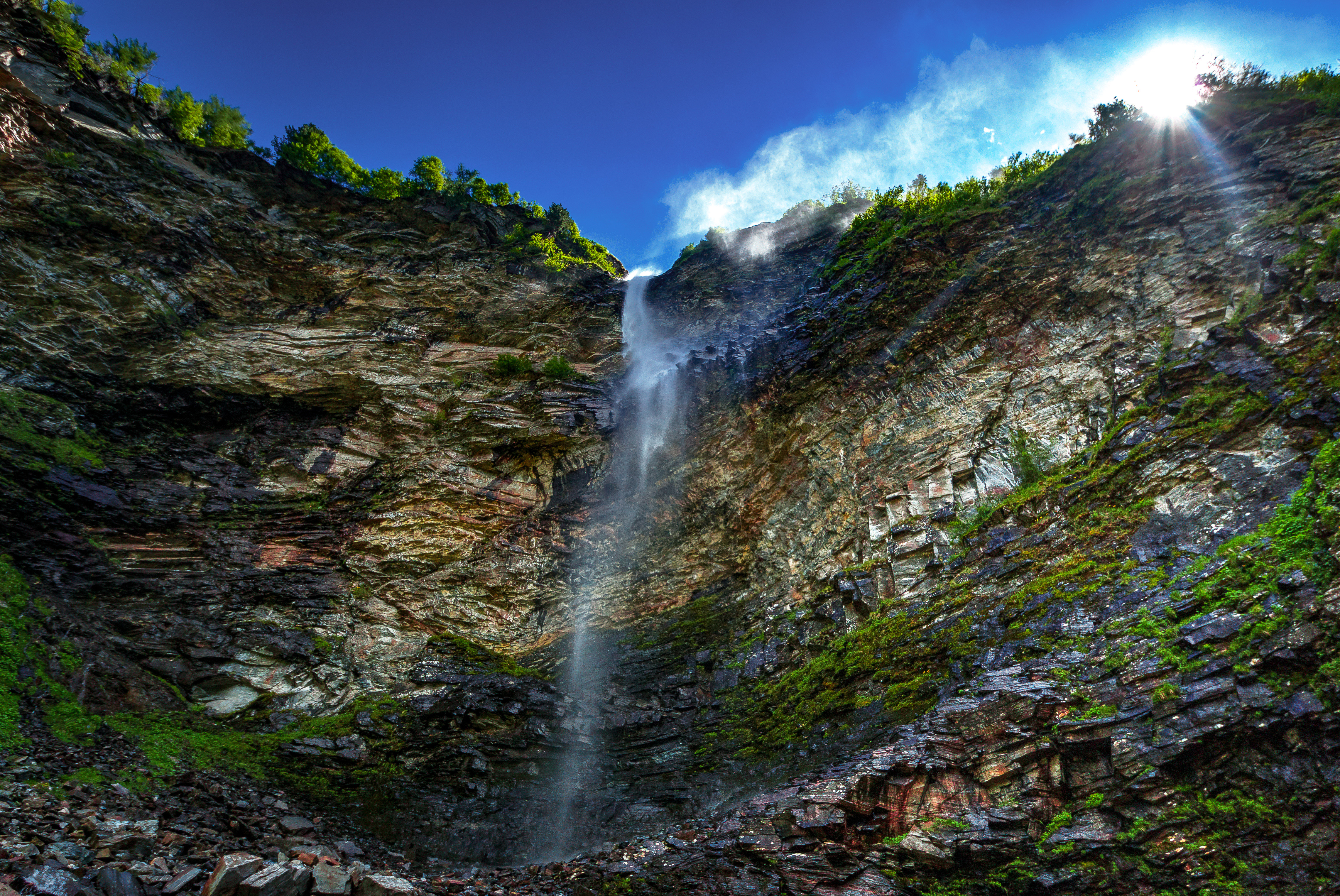 high waterfall from cliff image free stock photo