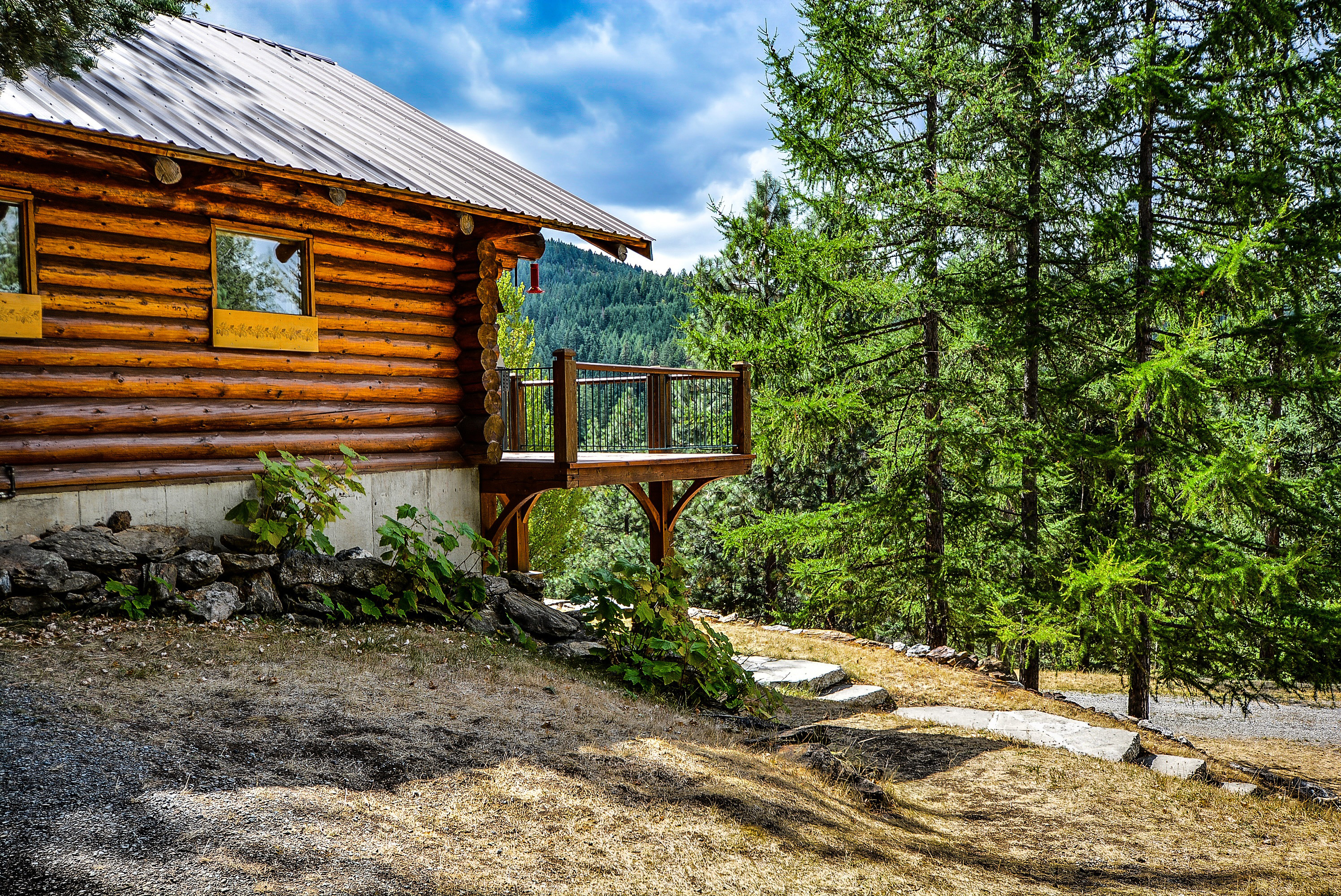 Rustic Cabin In The Woods Landscape Image Free Stock