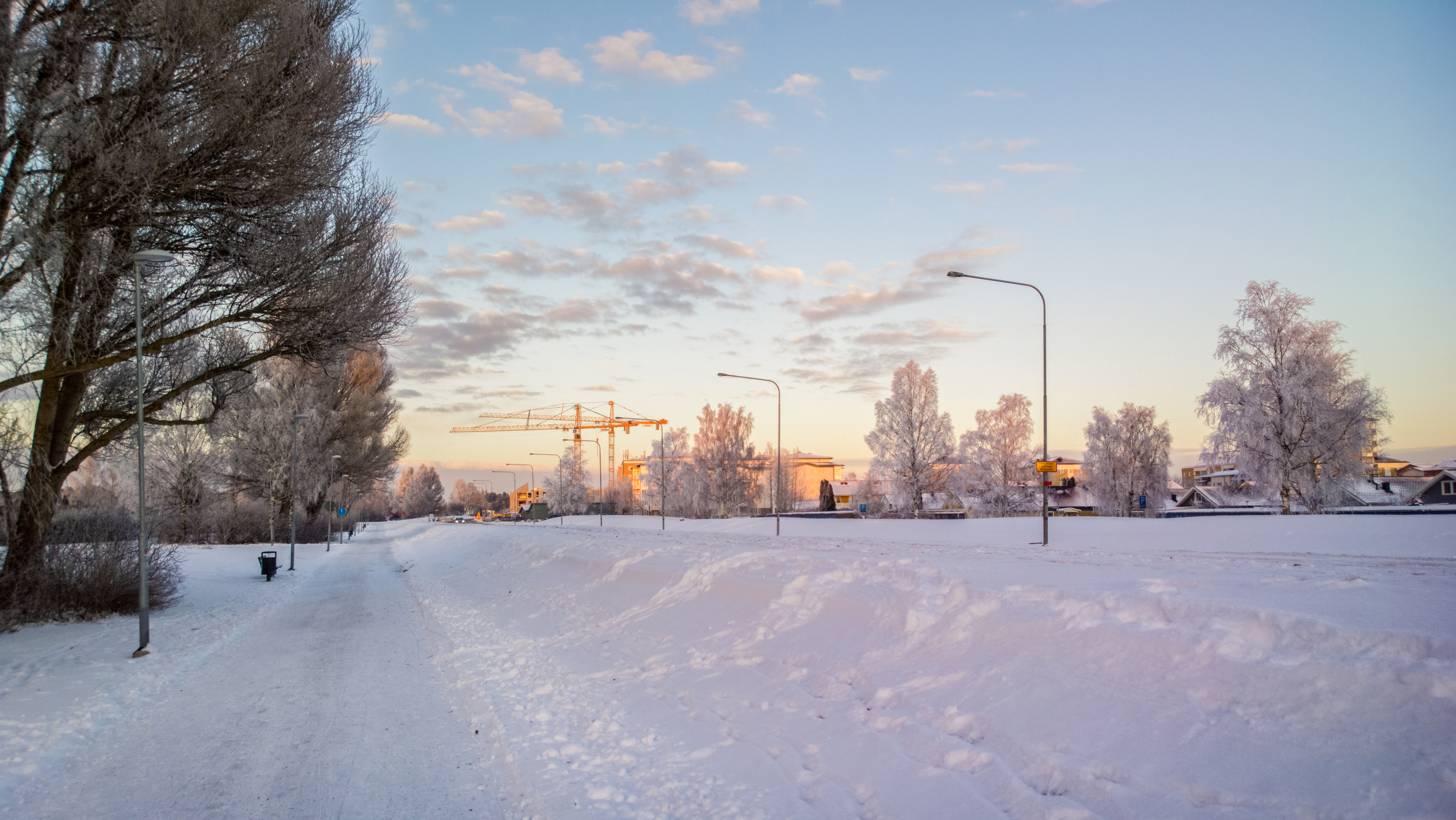 snowy path landscape under the sky in winter image - free stock photo