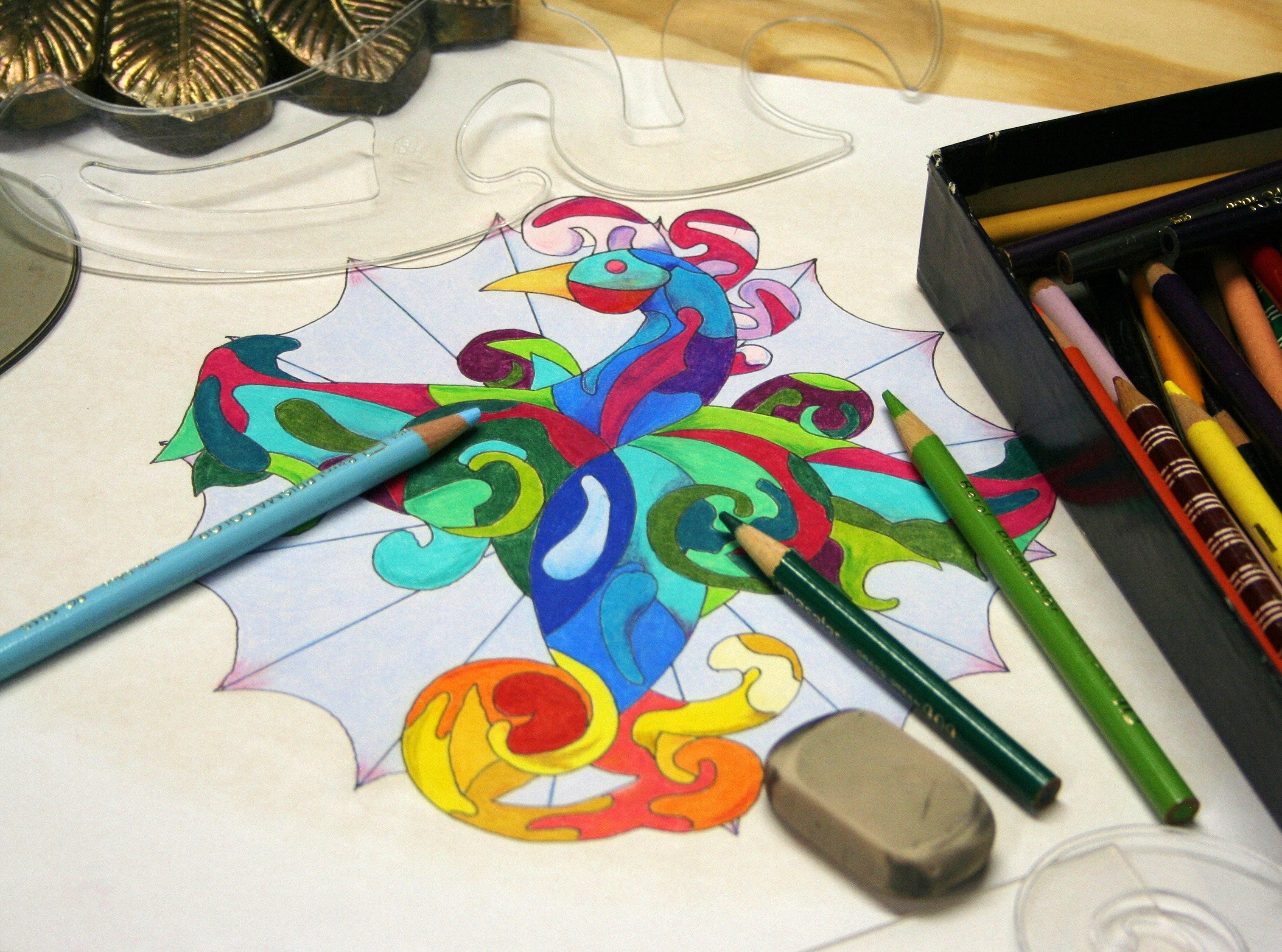 Coloring with pencils and stencils image - Free stock photo - Public ...