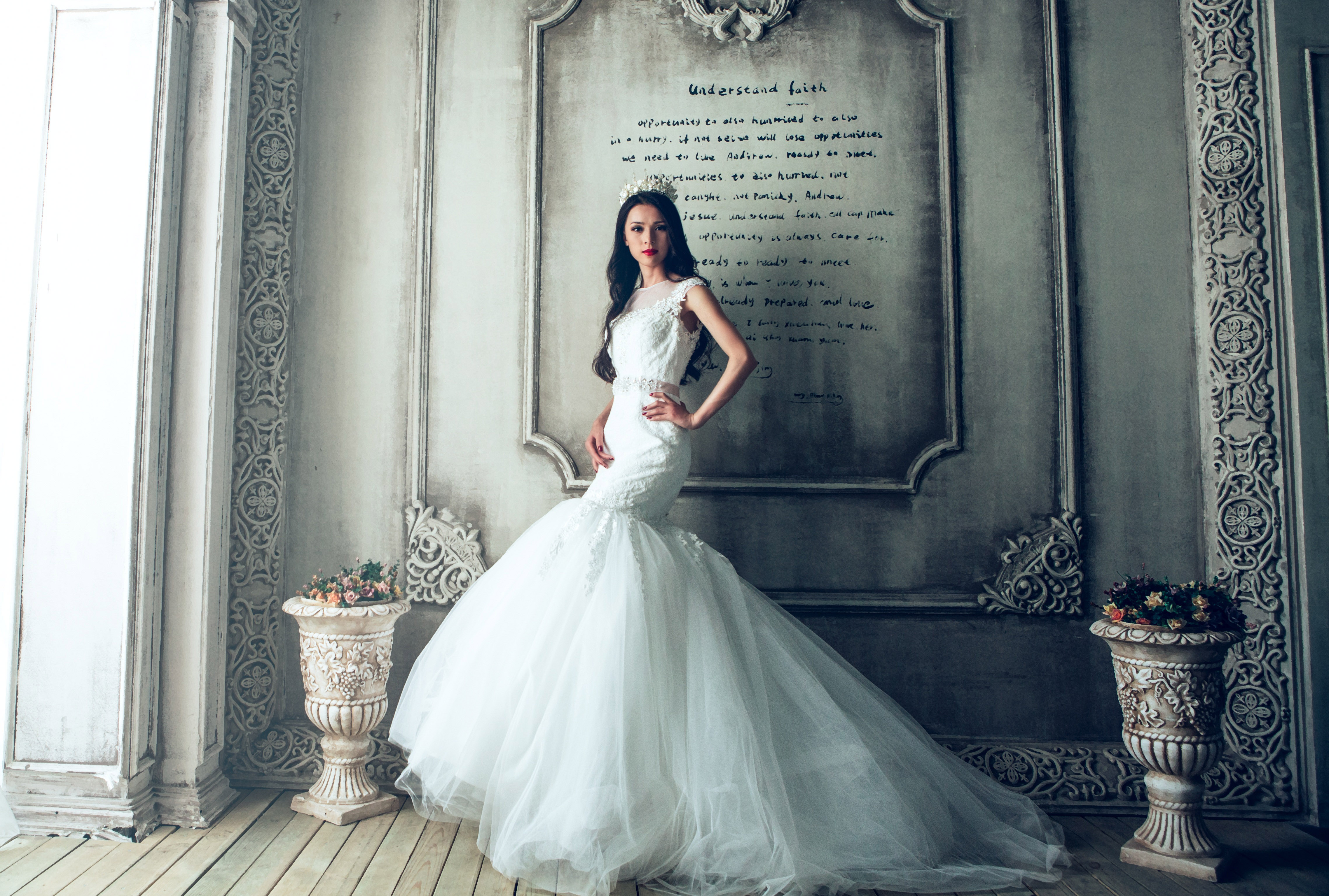 8a90d71ac beautiful-lady-in-a-white-wedding-dress image - Free stock photo ...
