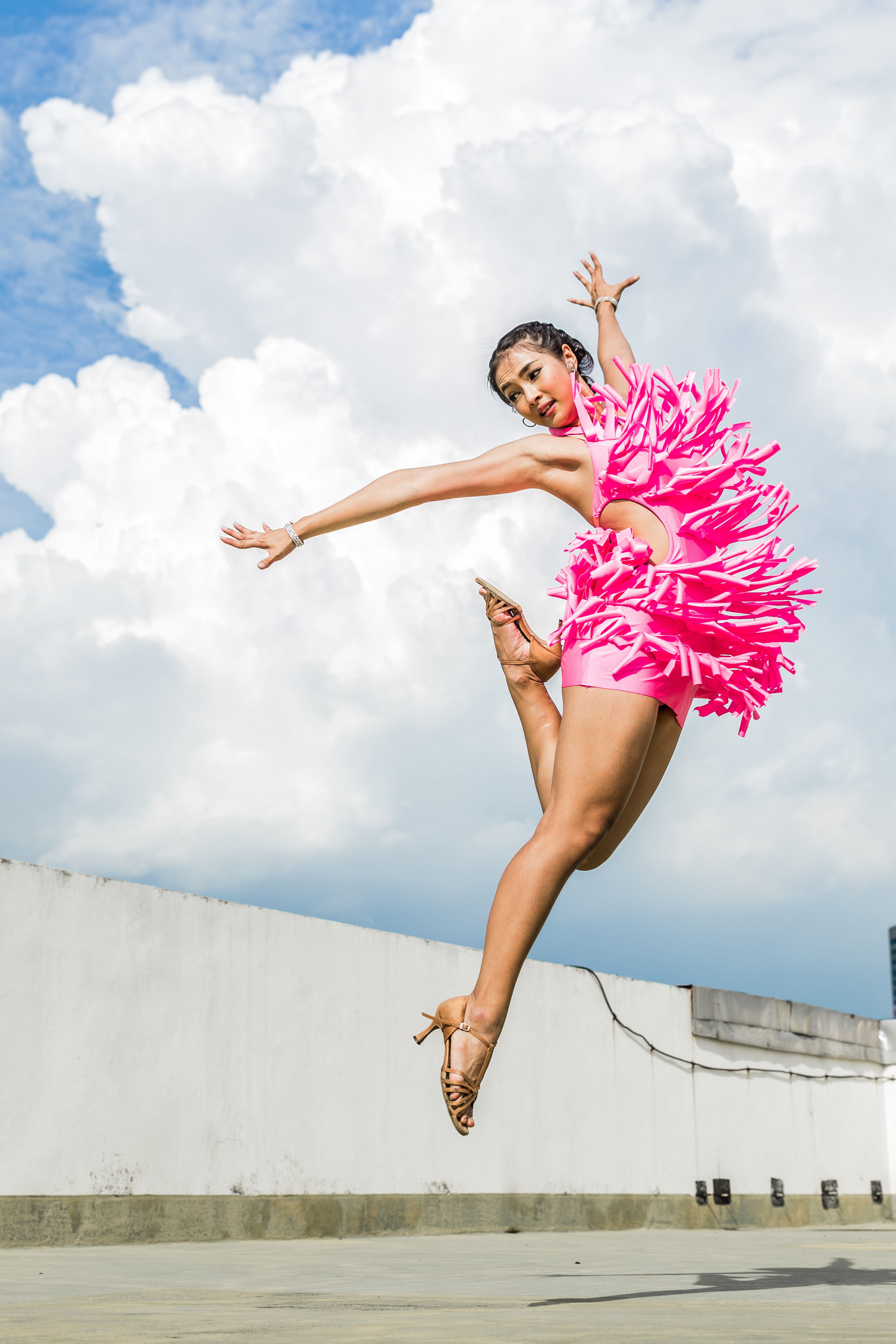 Dancer Jumping In Funny Pink Costume Image Free Stock