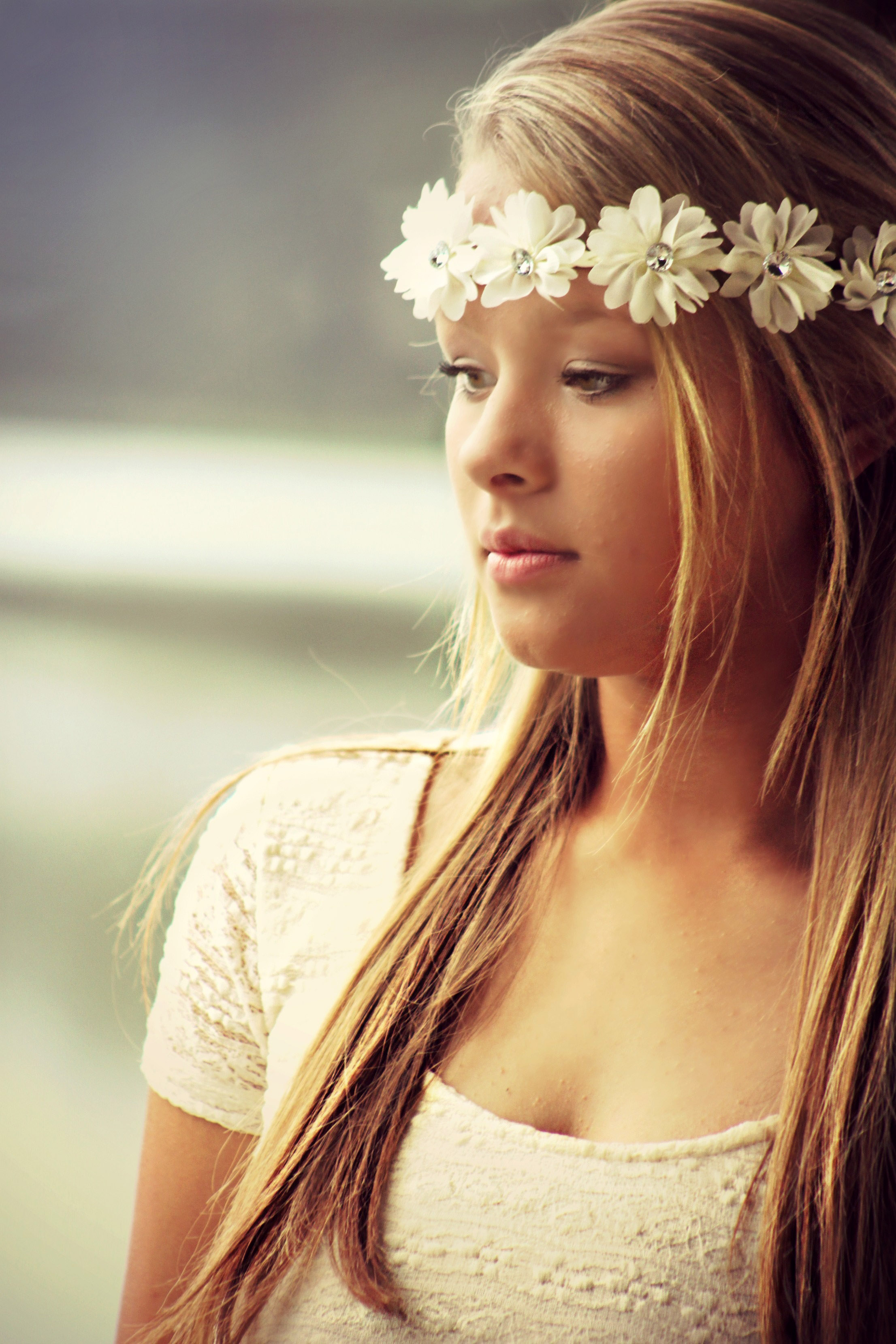 pretty girl with crown of white flowers image - free stock photo
