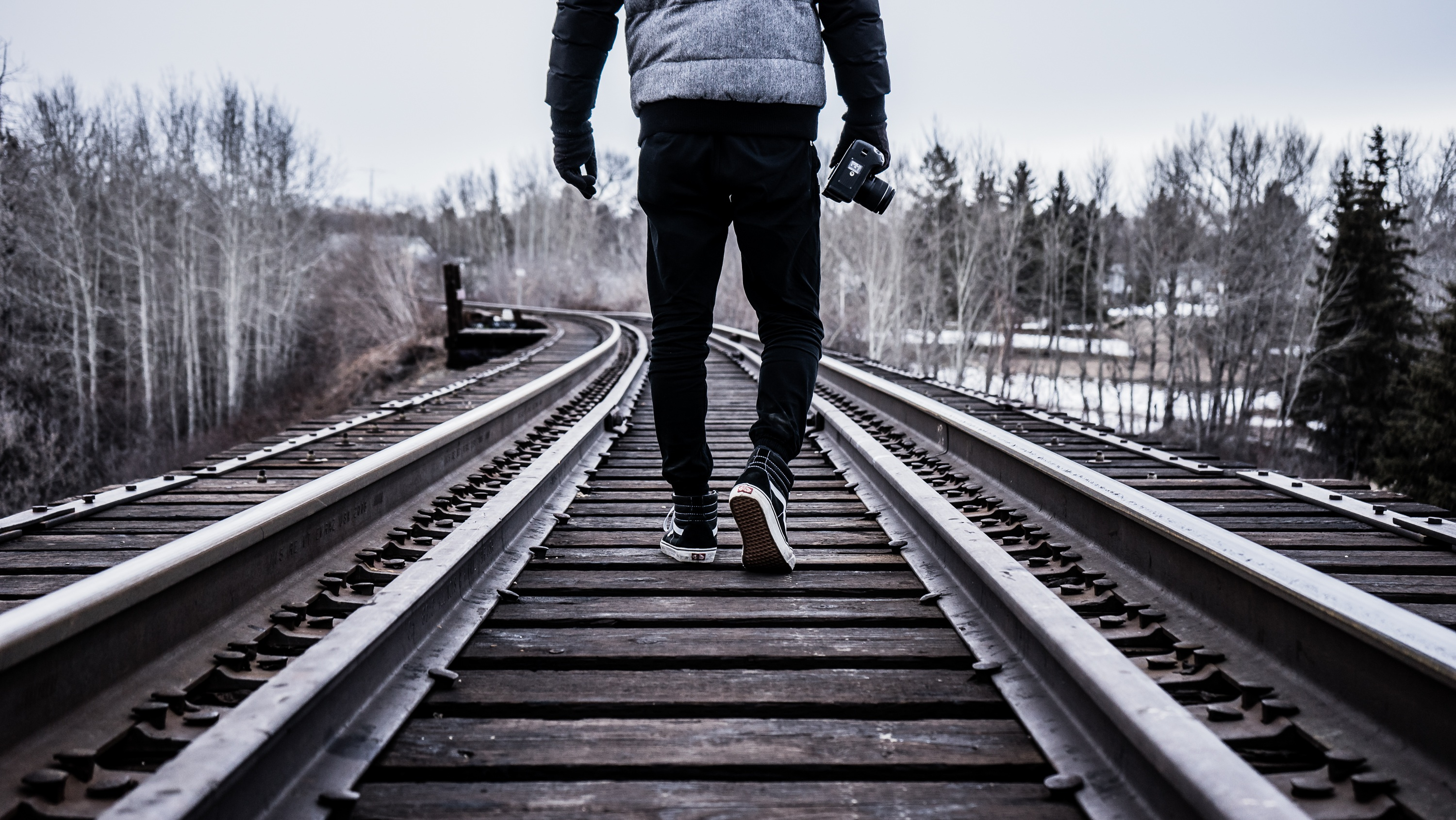 walking on the railroad tracks image free stock photo publicfree photos \u003e