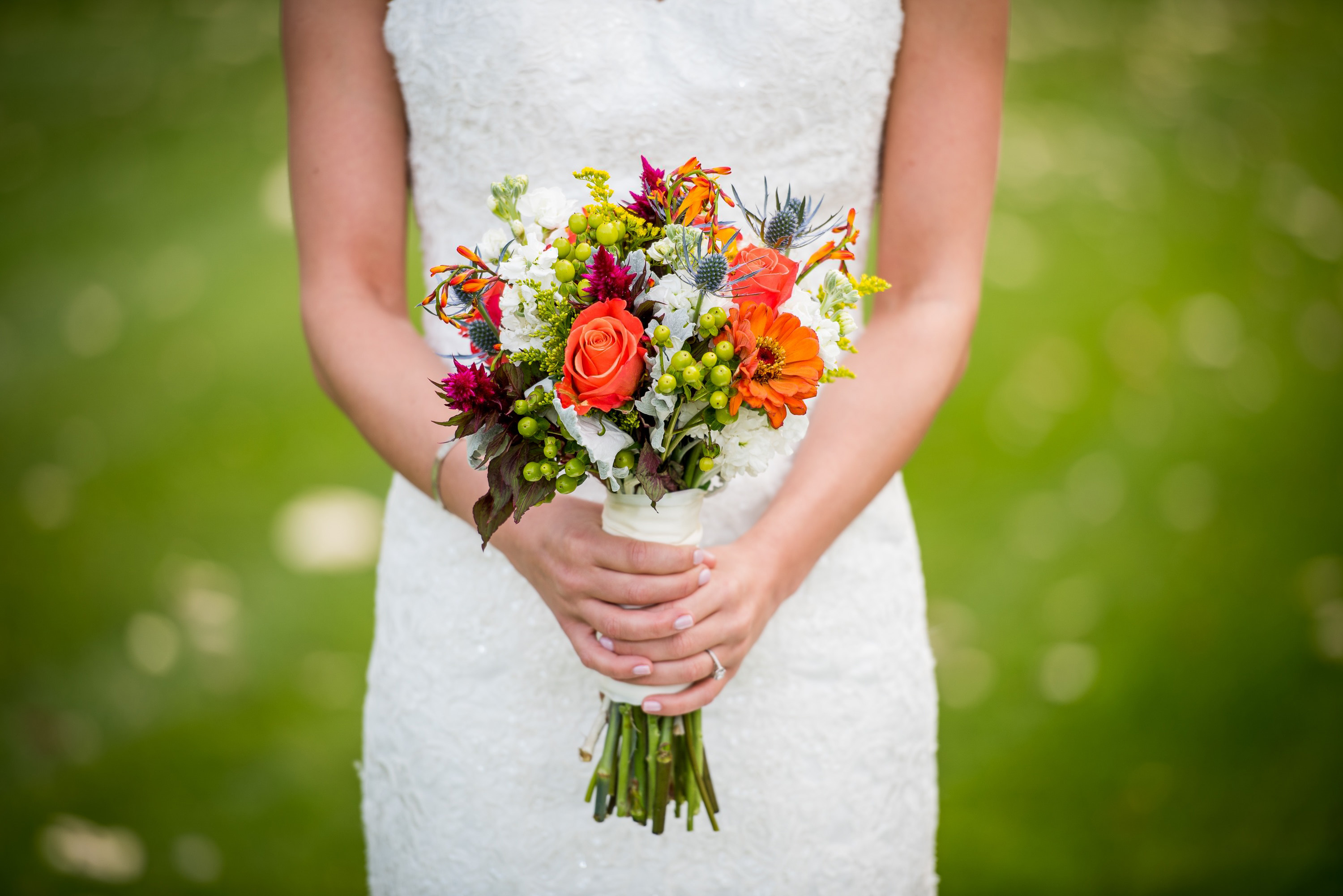 Woman In A White Dress With Bouquet Of Flowers Image Free Stock