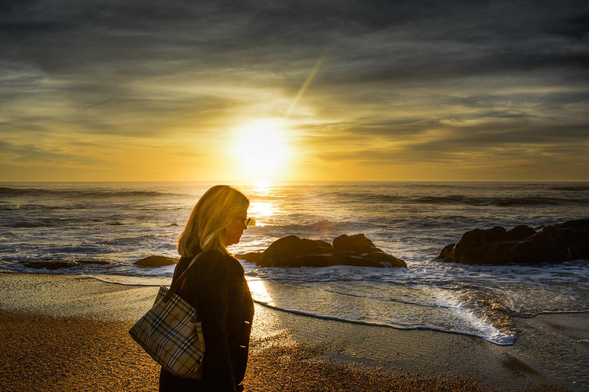 woman-walking-on-the-beach-during-sunset image - Free ...