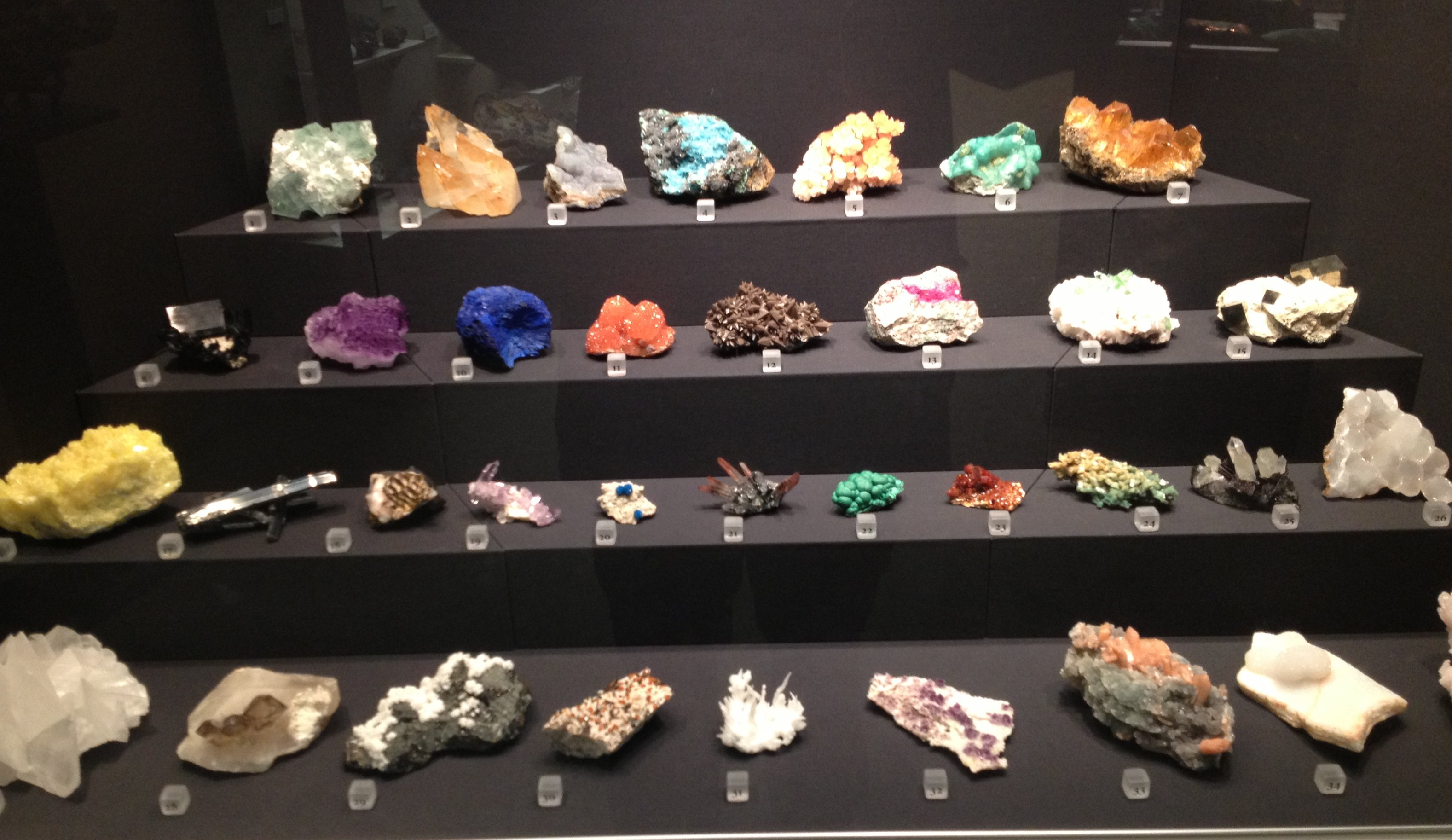 Display Case Of Minerals Image Free Stock Photo Public