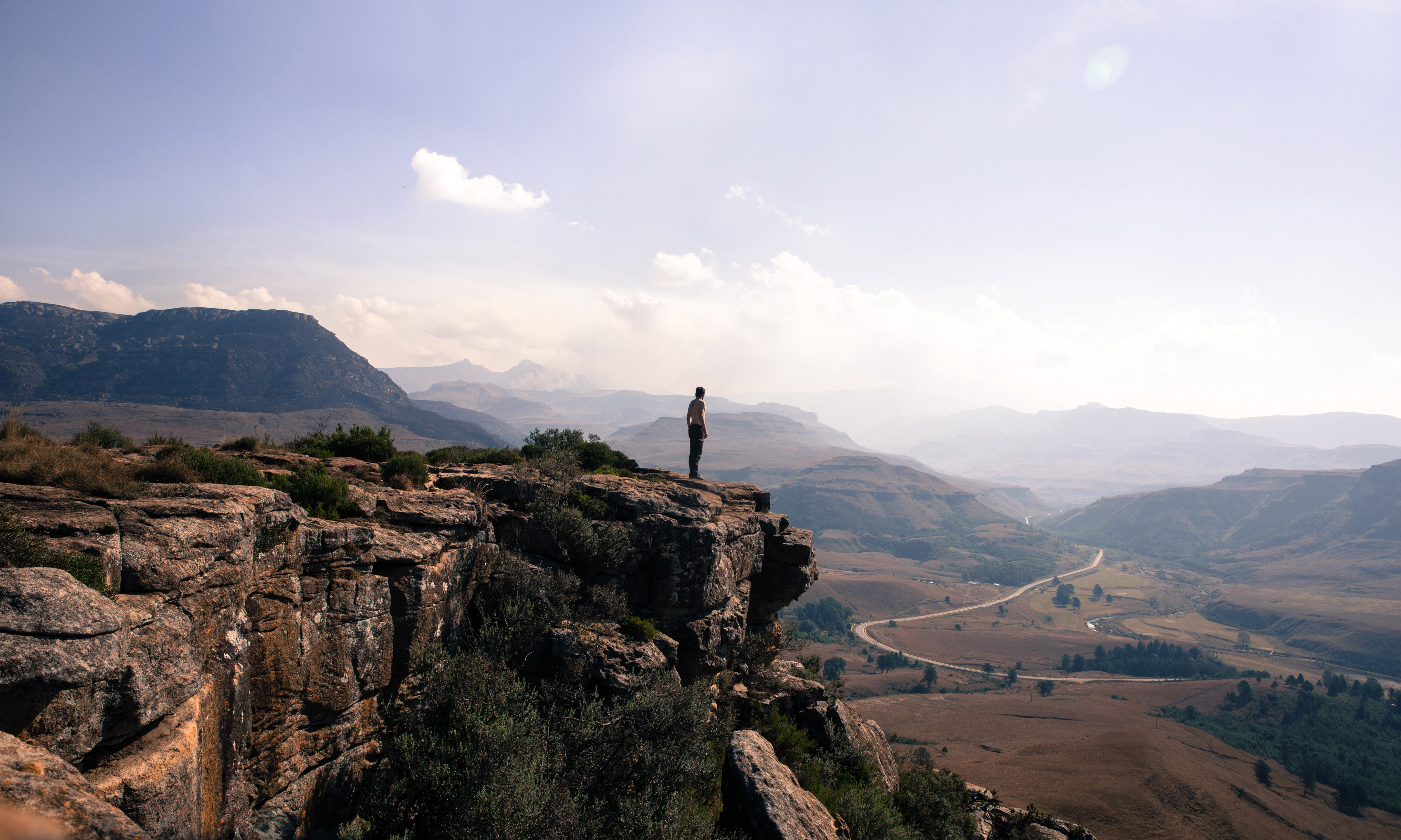 Person overlooking the landscape at mkhomazi wilderness for Landscape sa