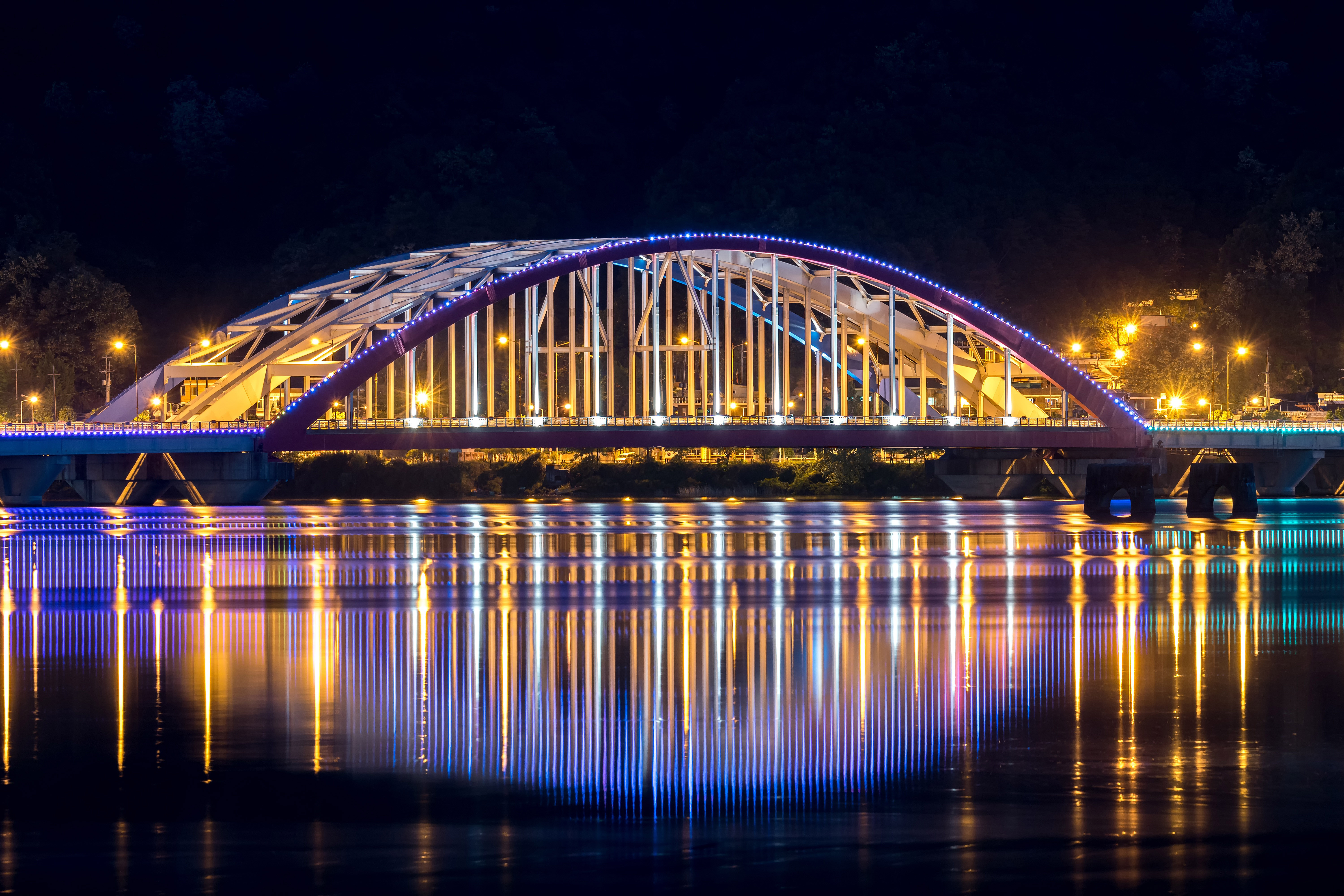 Free ... & Chuncheon Bridge lighted up at night in Seoul South Korea image ...