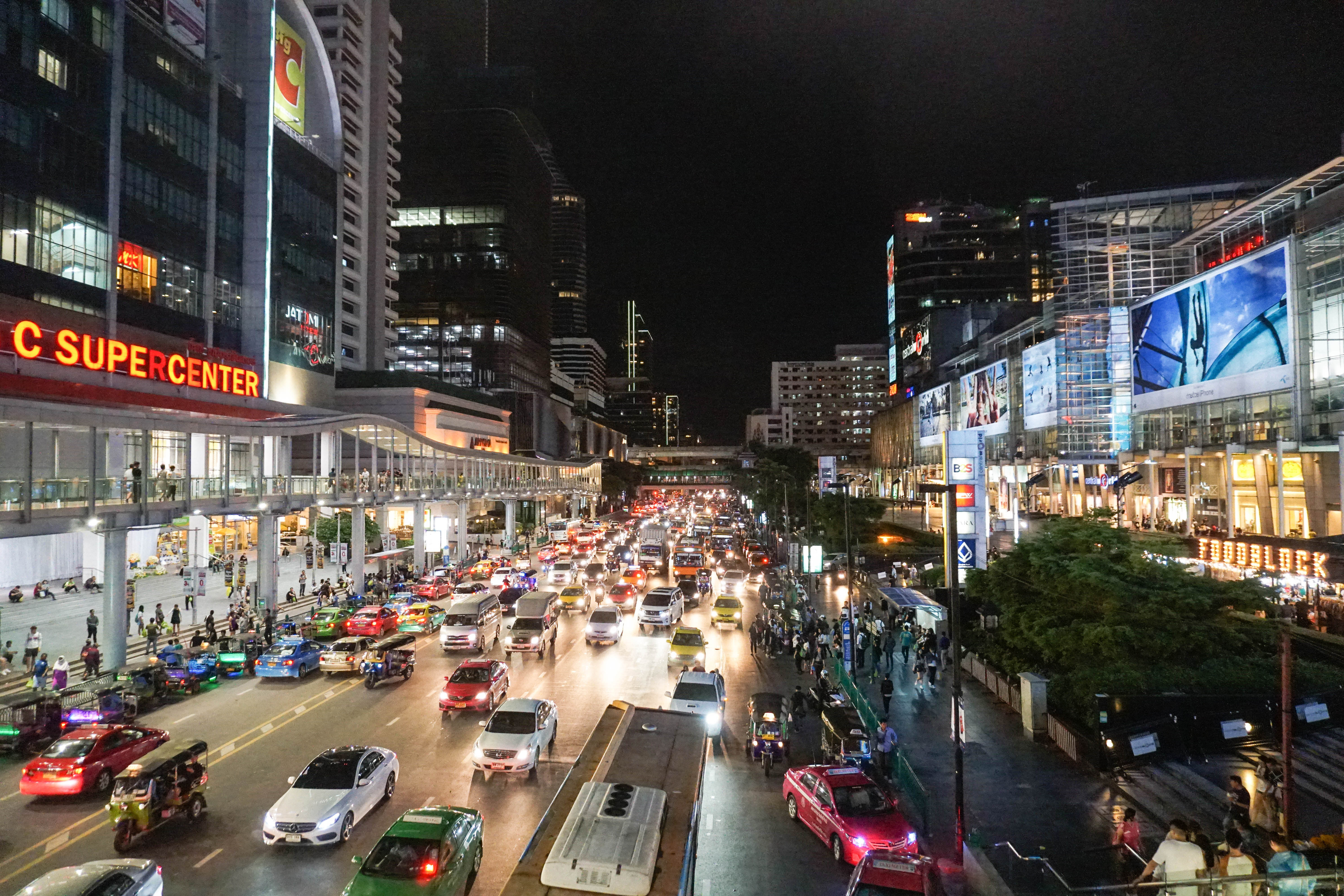 Downtown Traffic In The Streets Of Bangkok Thailand Image