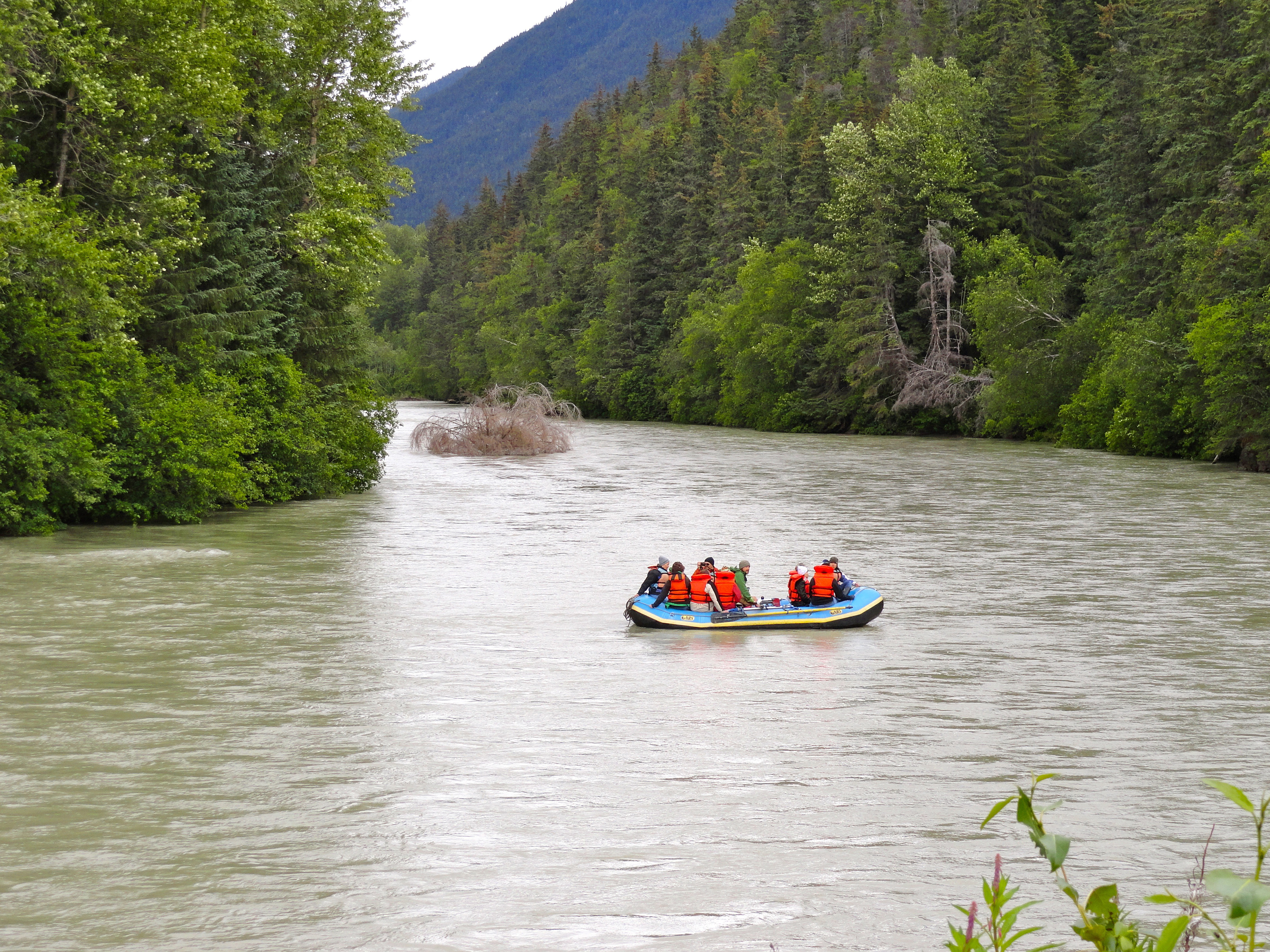 people going down the river in alaska image free stock photo