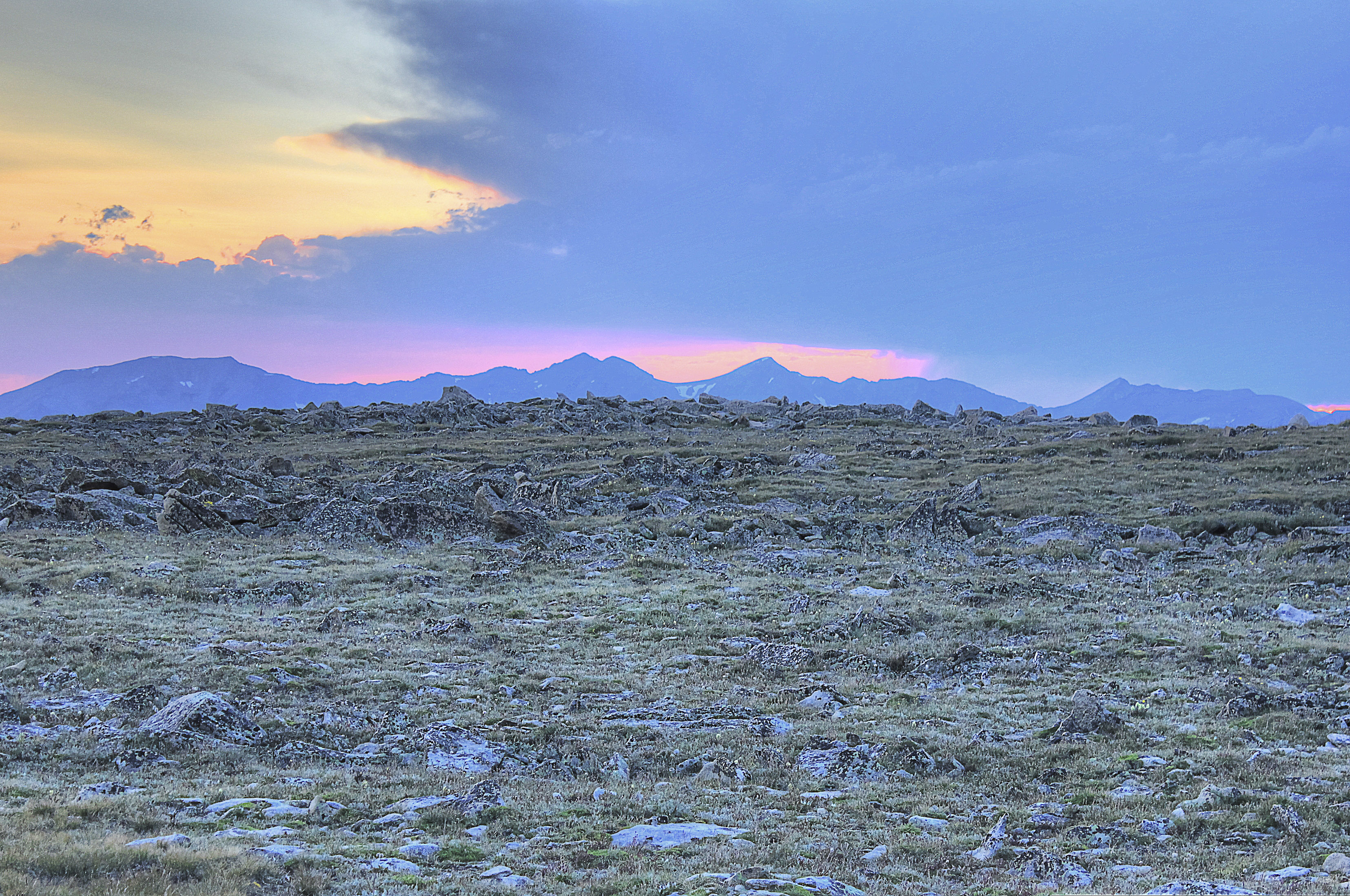 Distant Mountains At Dusk At Rocky Mountains National Park
