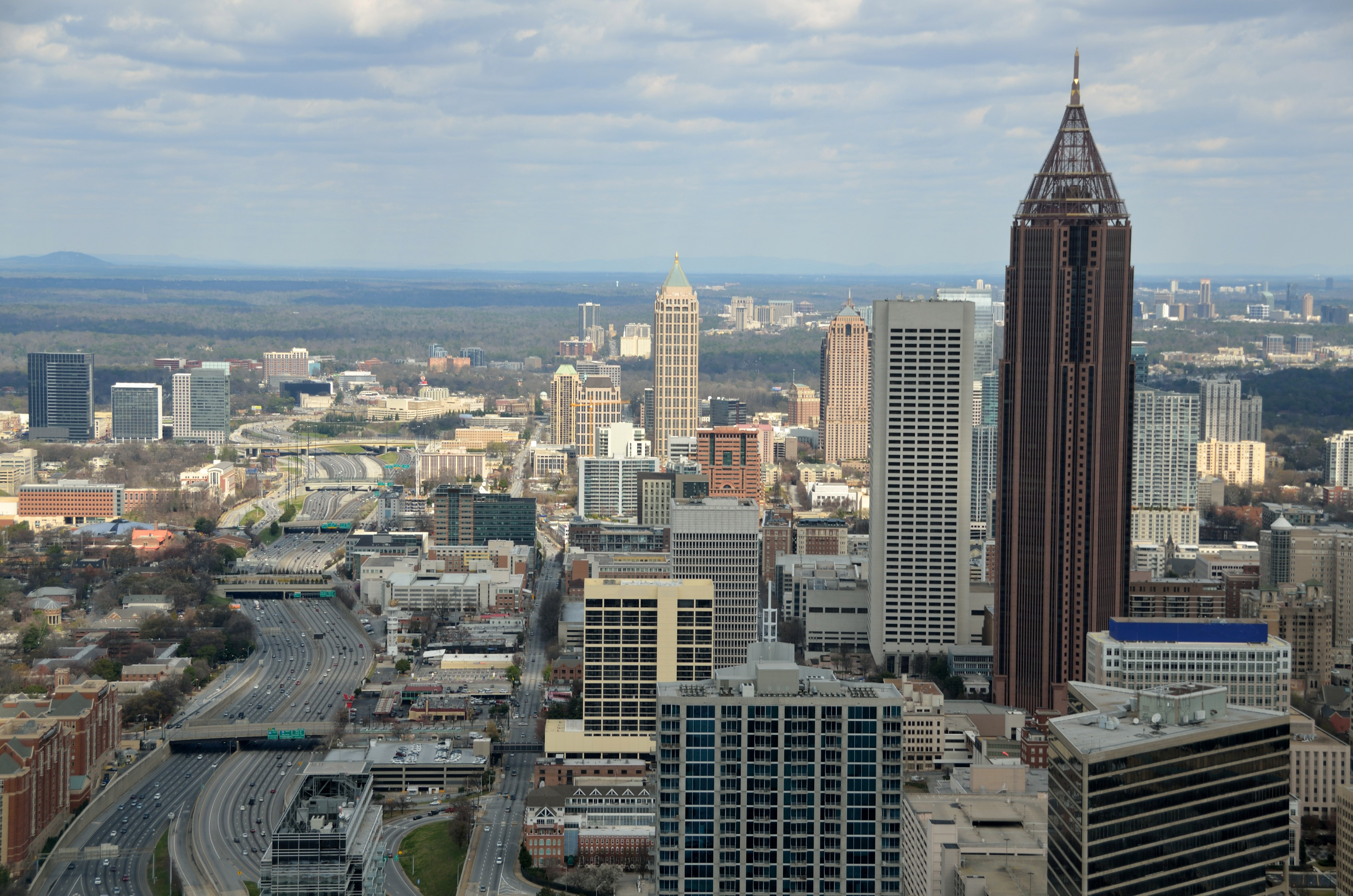 cityscape view of atlanta georgia with roads skyscrapers and
