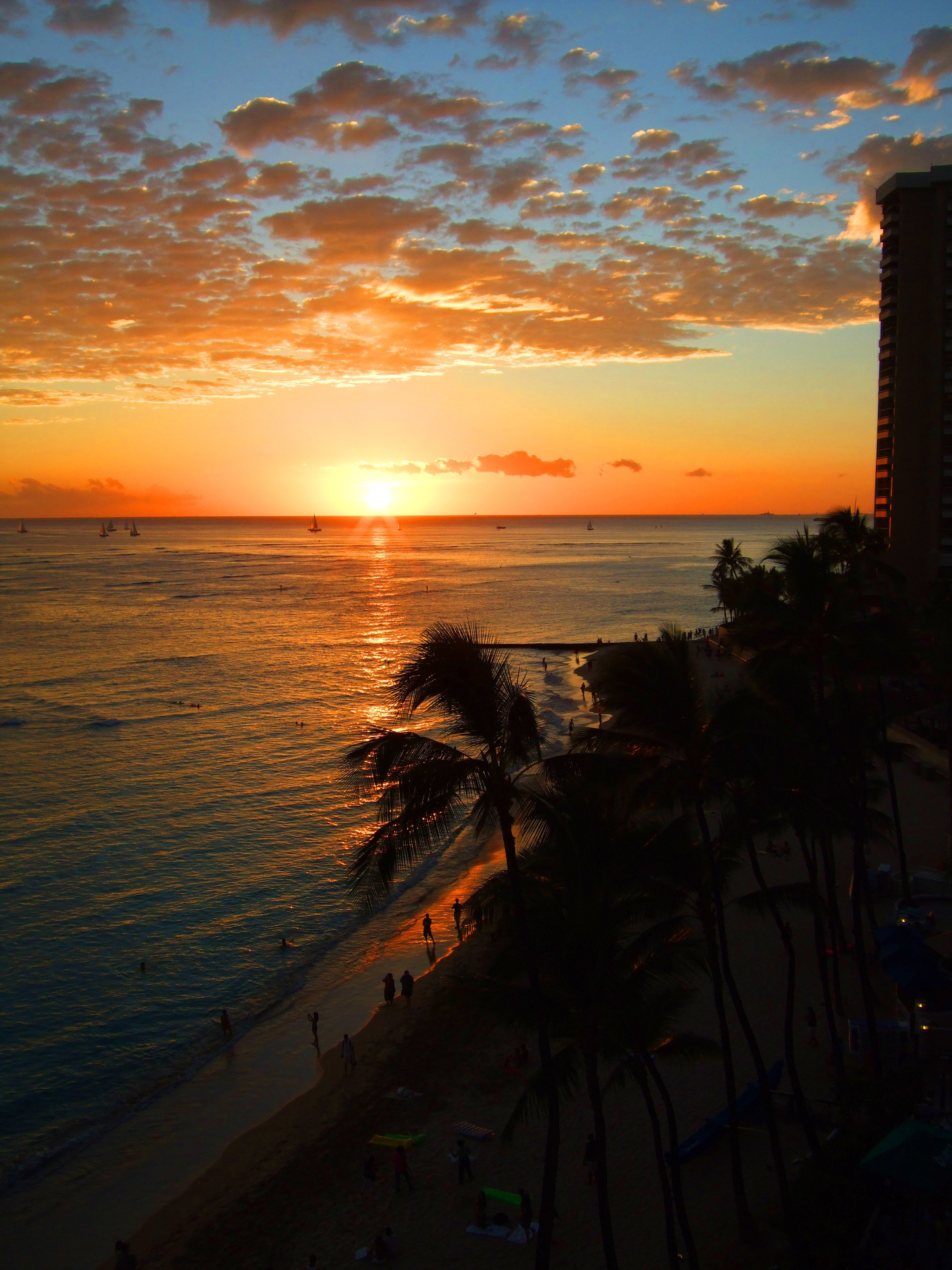 Sunset On Waikiki Beach In Honolulu Hawaii Image Free