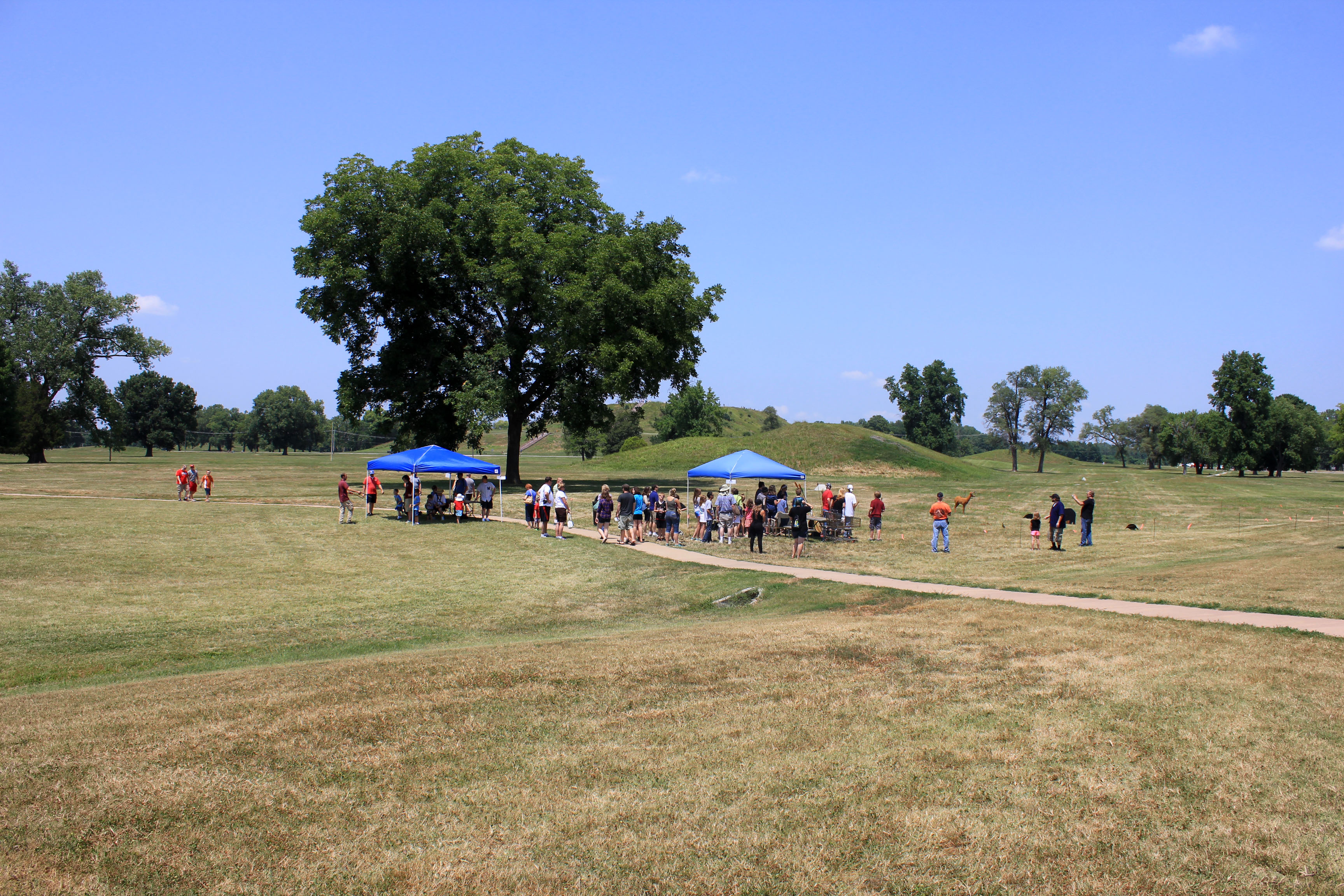 More tents and people at Cahokia Mounds, Illinois image