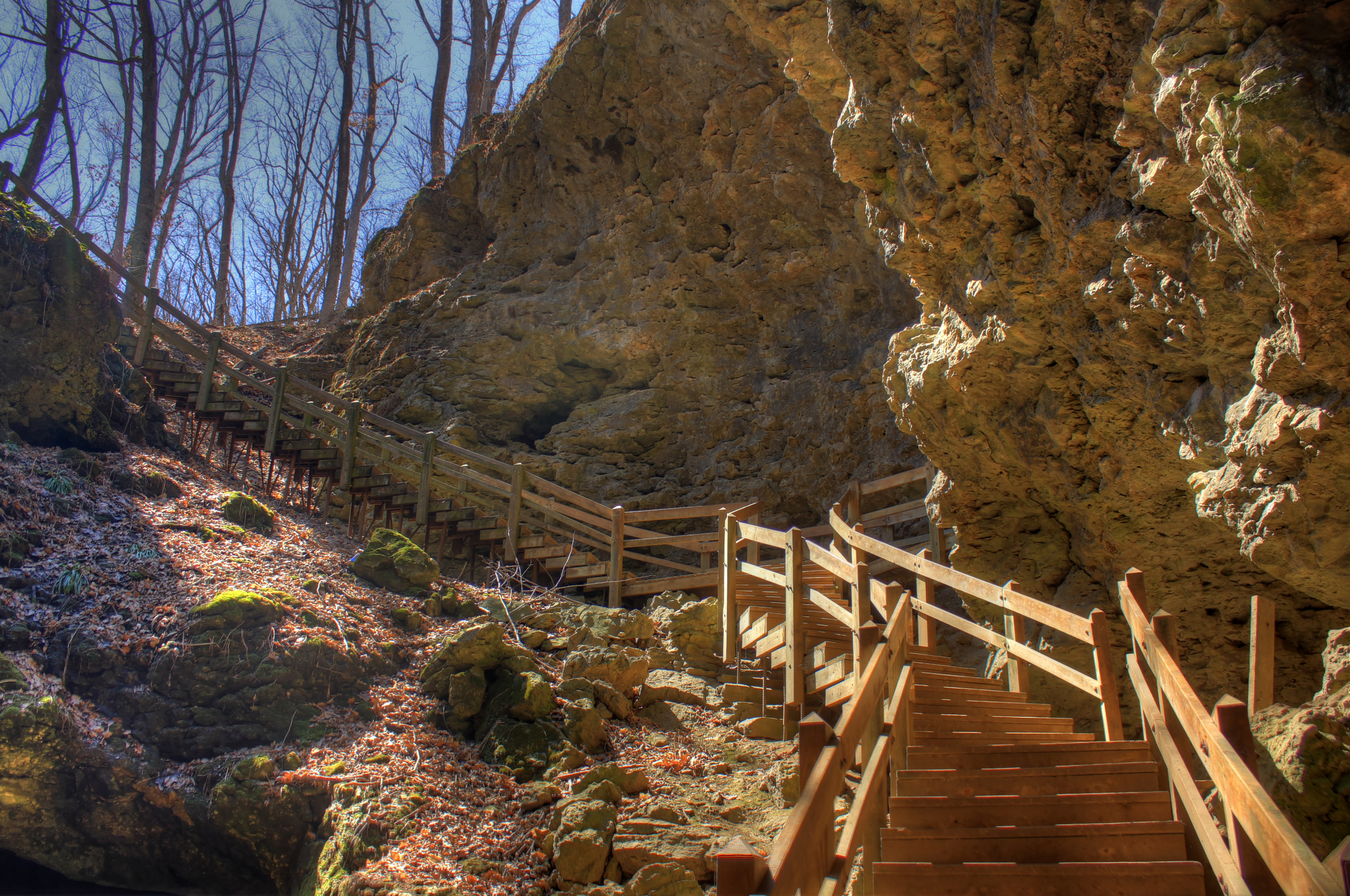 Free Stock Photo of Walkway by the Cave at Maquoketa Caves State ...