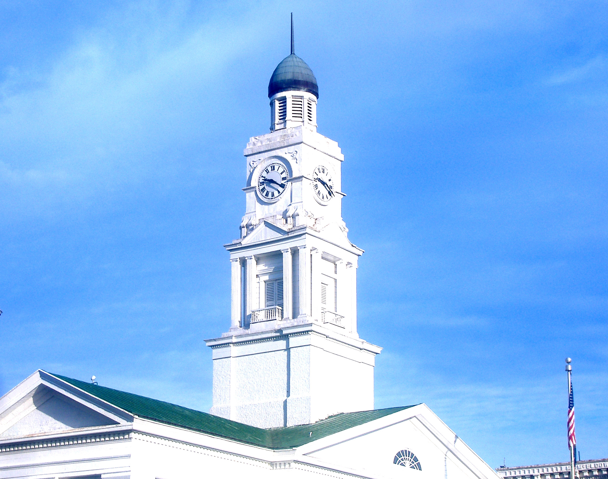 The Clark County Court House clock in Winchester, Kentucky