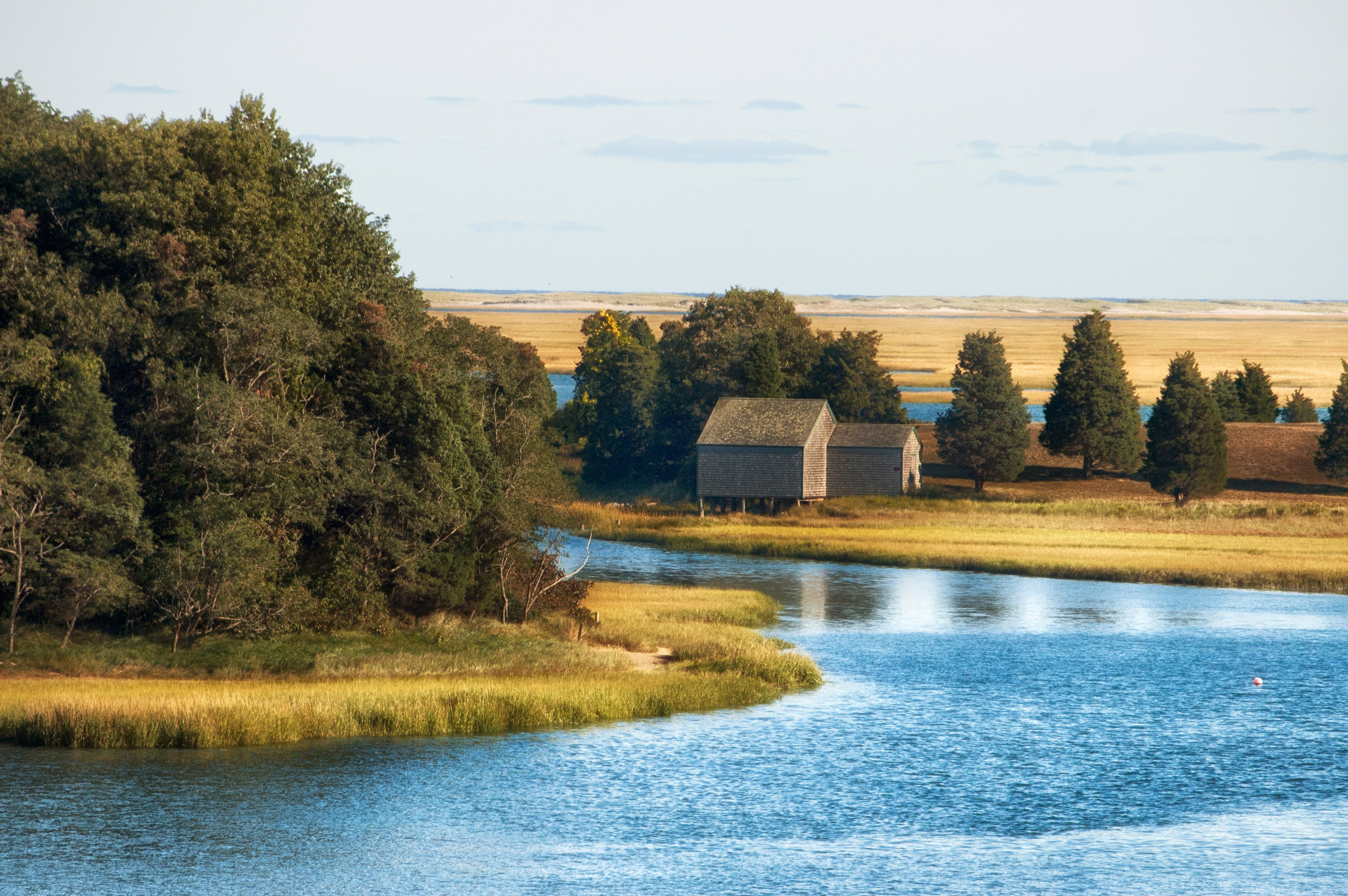 River Landscape And House At Cape Cod Massachusetts Image