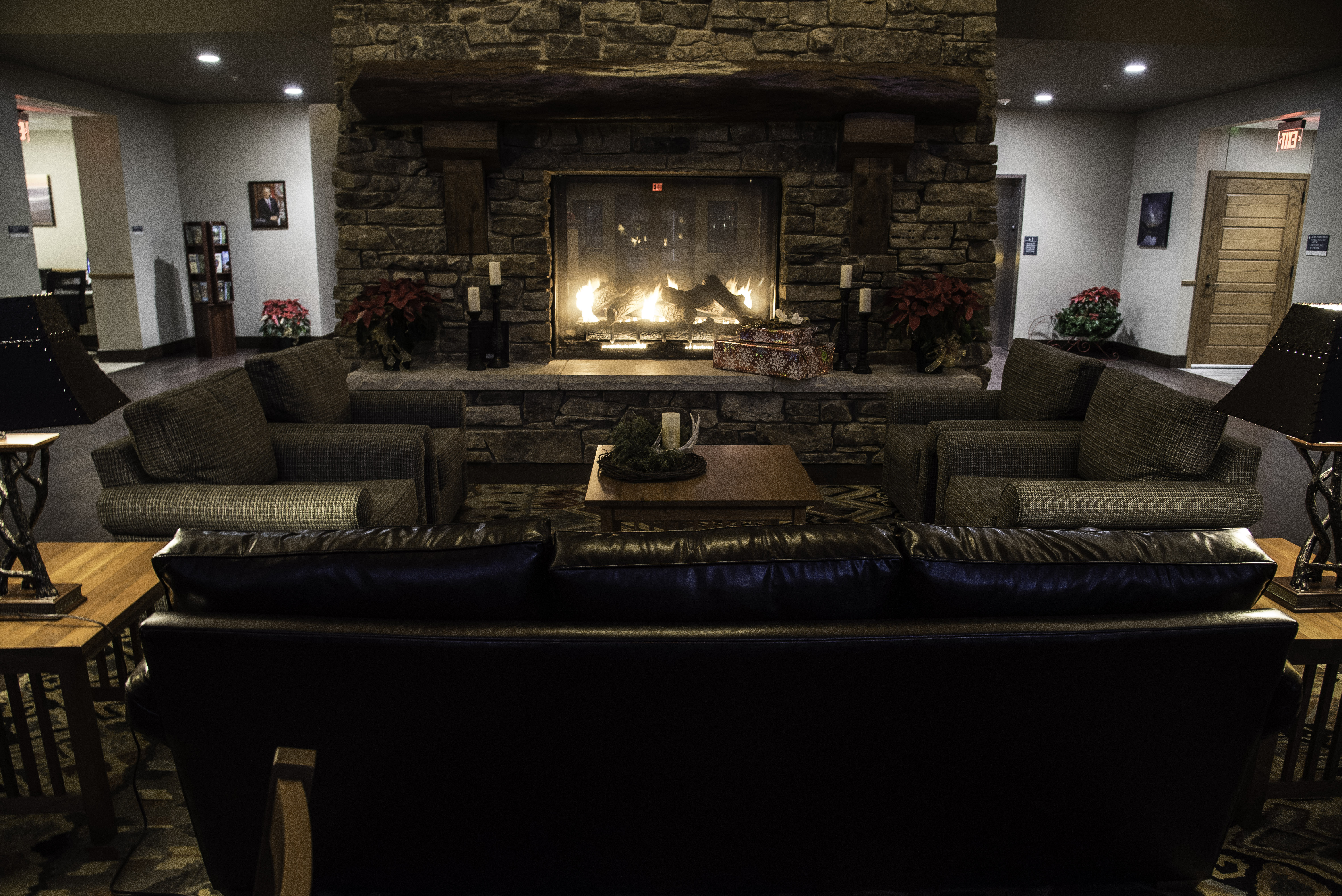 free stock photo of indoors fireplace at the betty lea lodge at