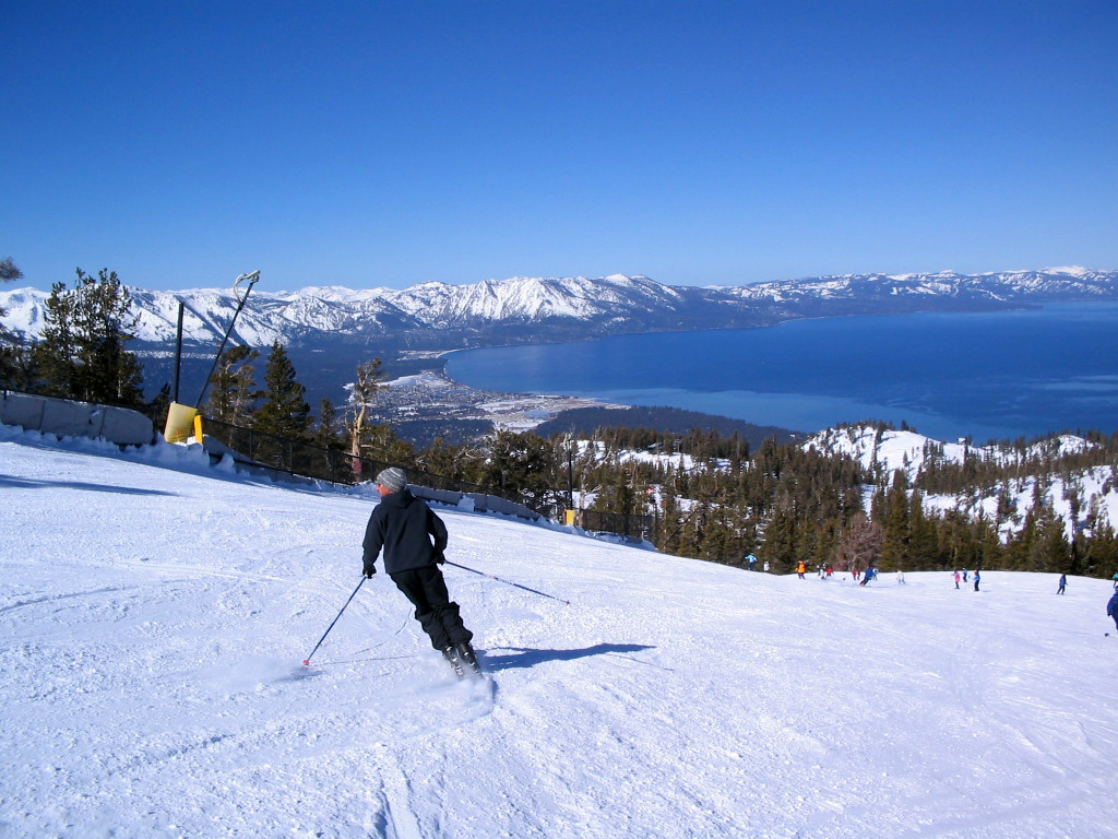 Skiing Down the Slopes of Lake Tahoe image - Free stock photo ...