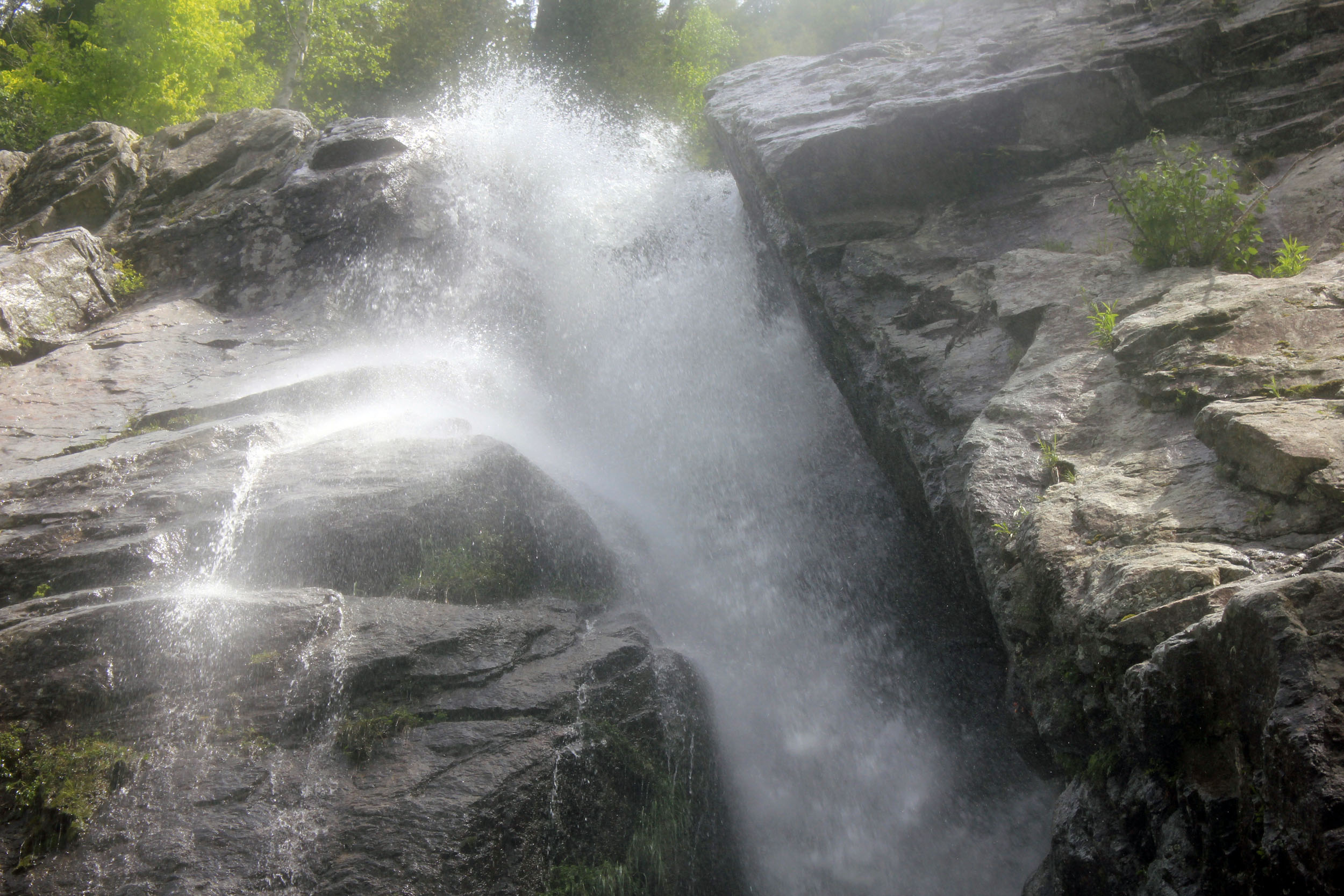 Roaring Brook Falls Side View in the Adirondack Mountains