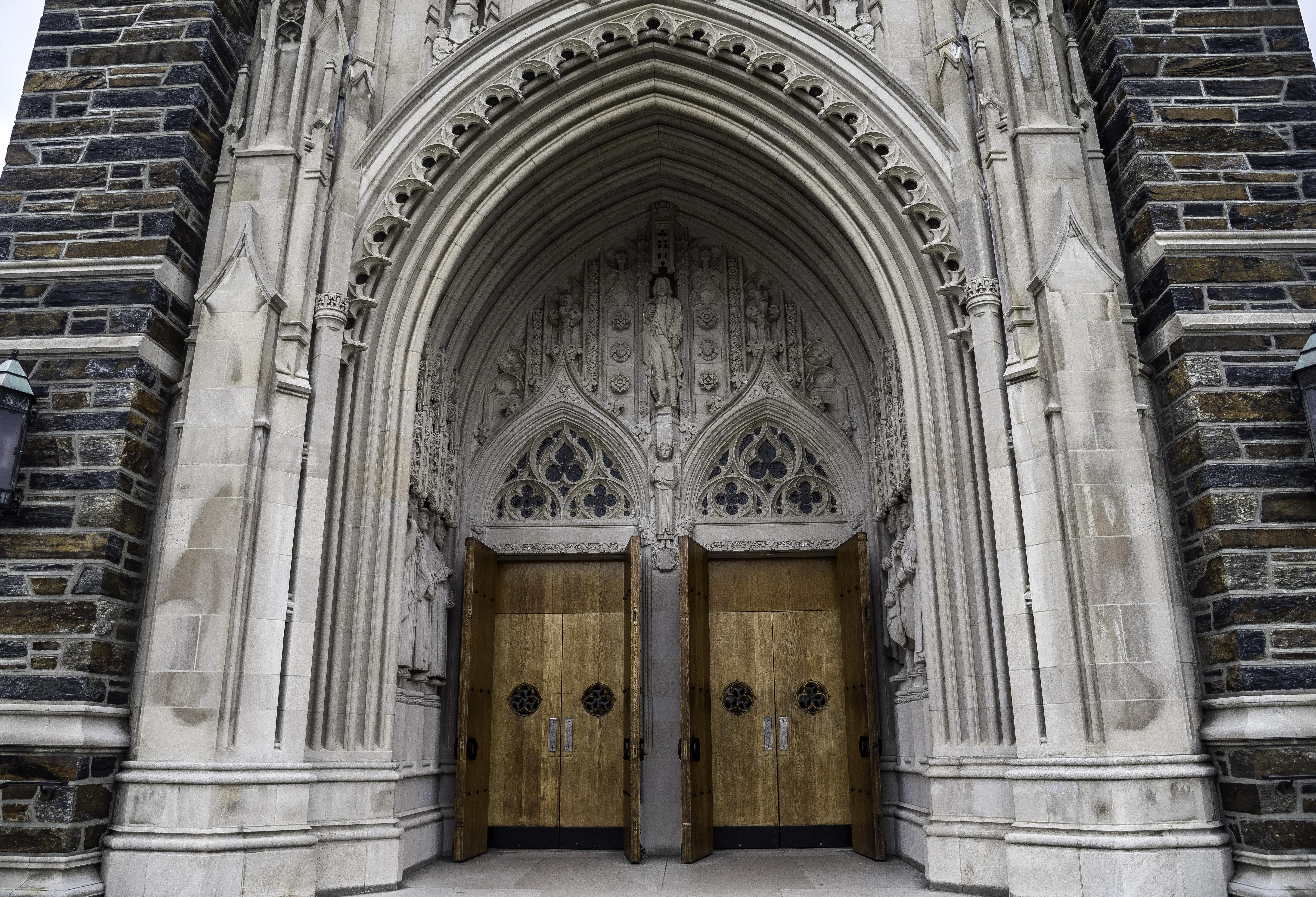 Free ... & Cathedral Door Archway at Duke Chapel Durham North Carolina image ...