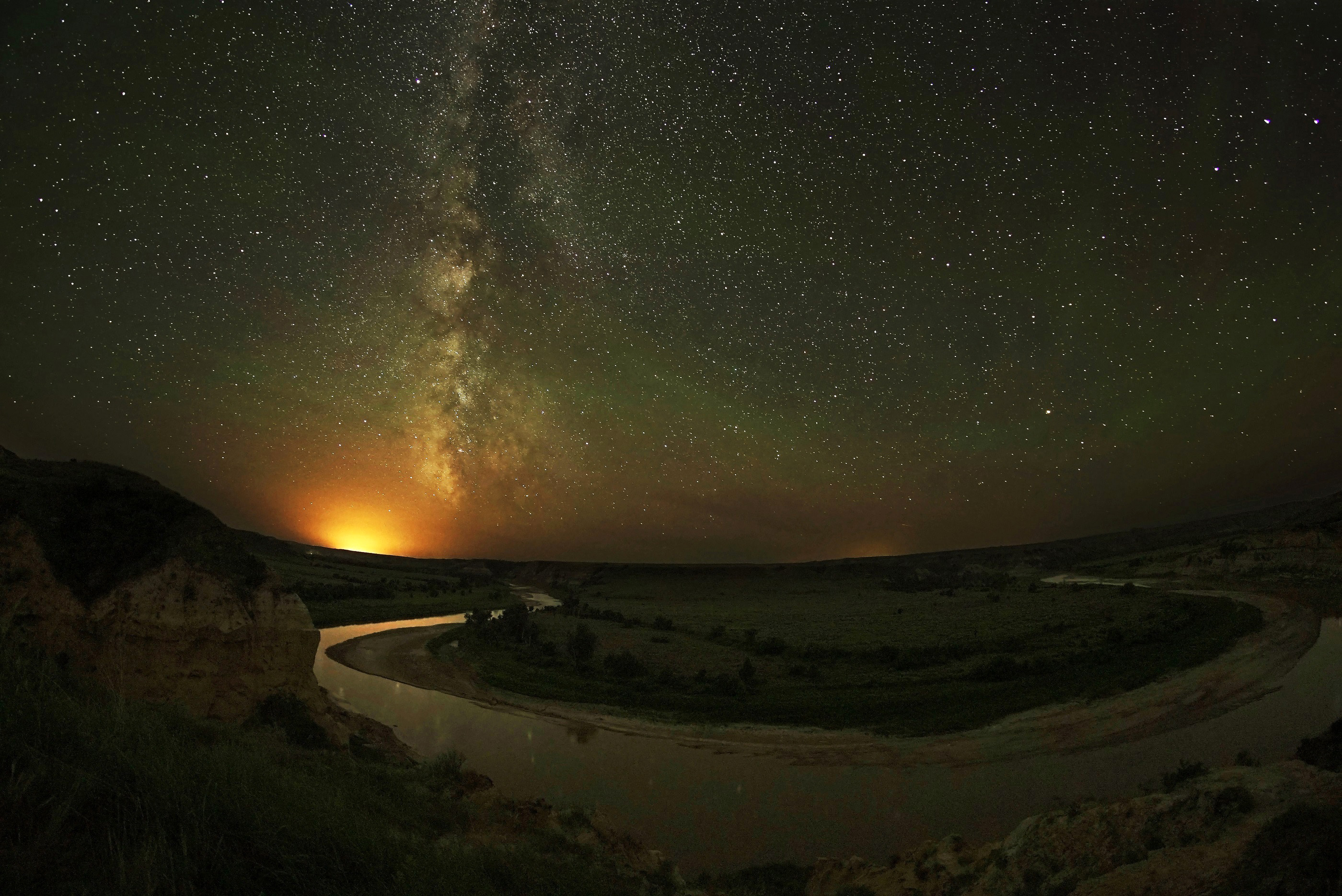 Milky Way Galaxy with Stars and night landscape image