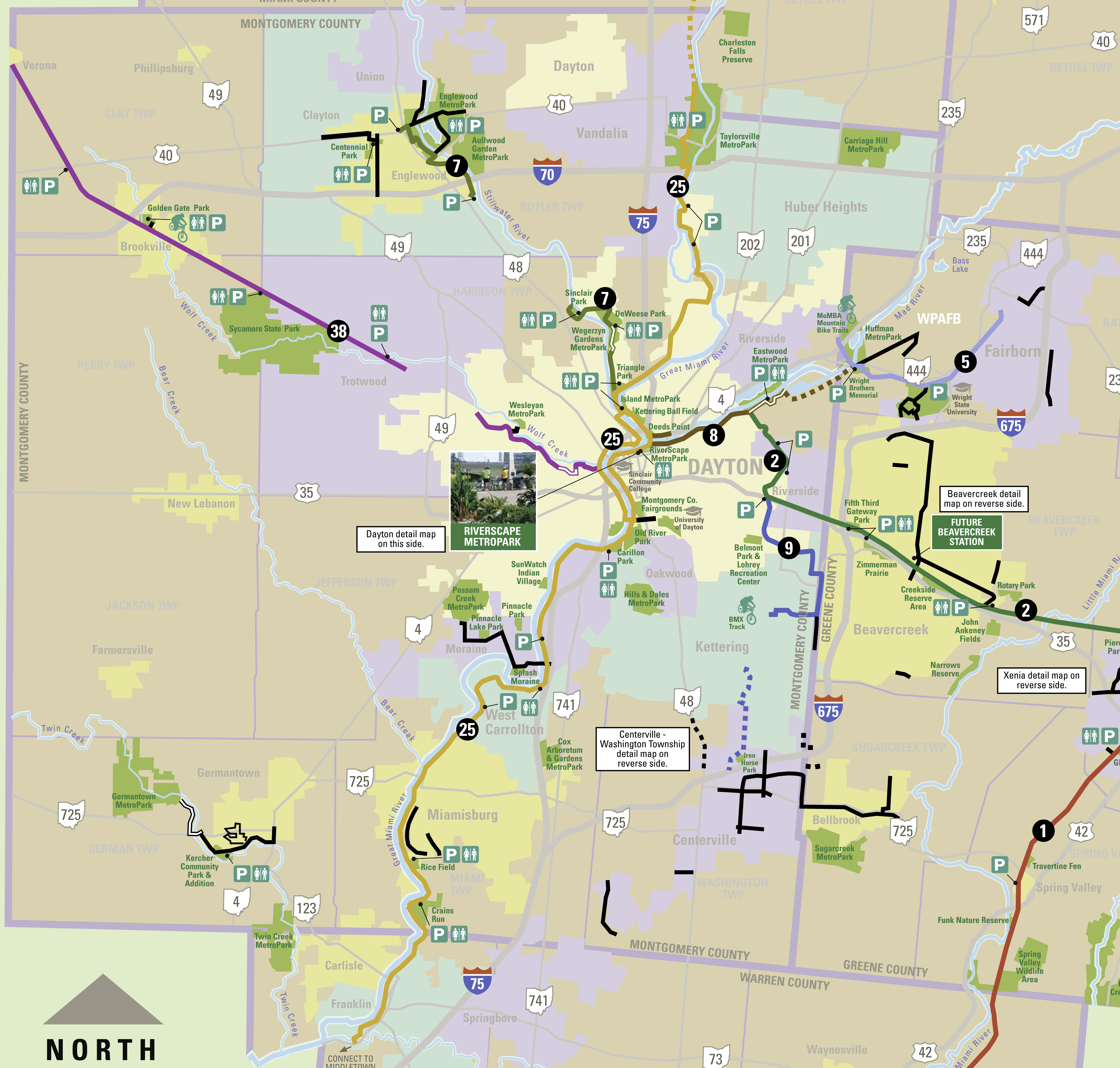 Dayton Regional Bike Trail Map in Ohio image   Free stock photo